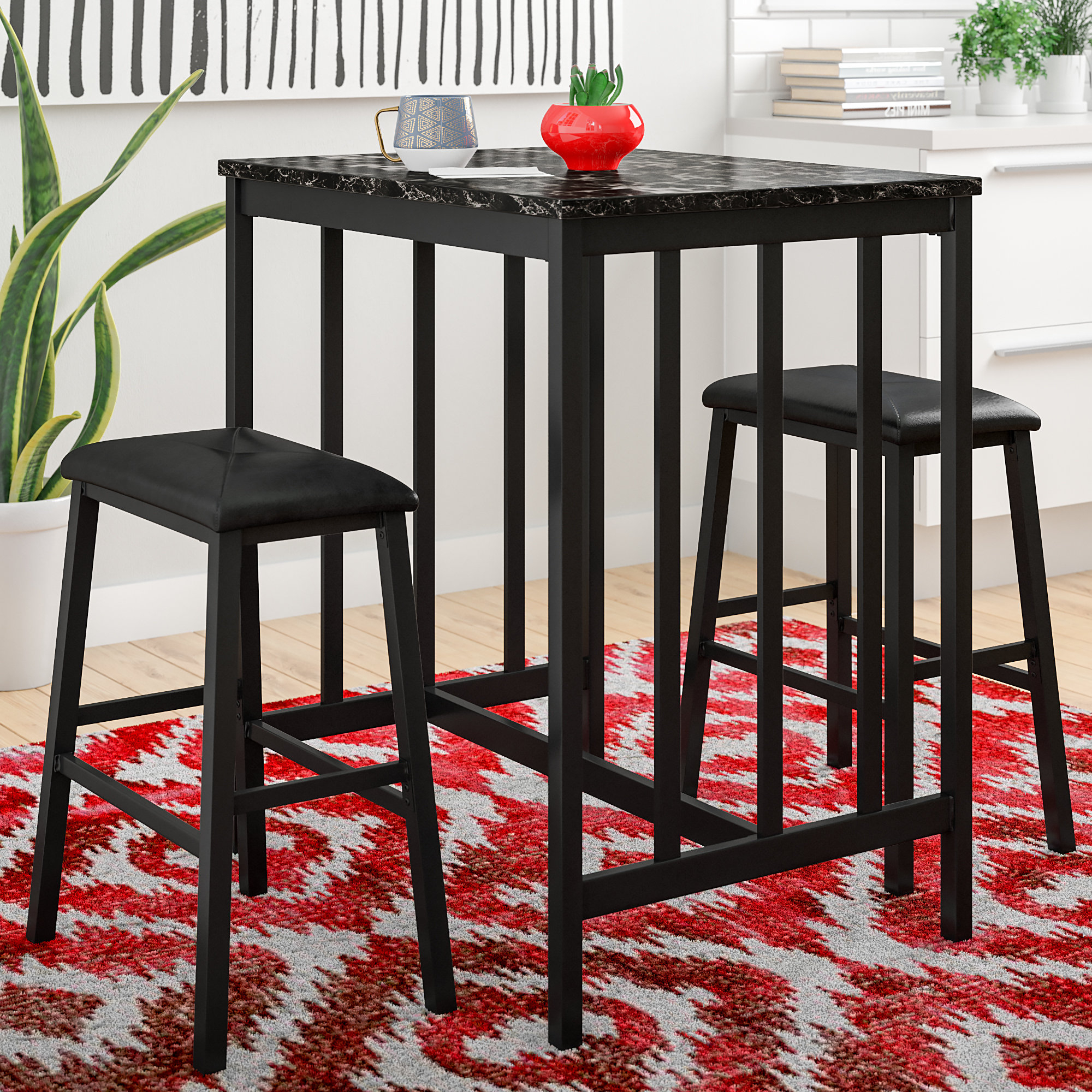 Miskell 3 Piece Dining Sets Pertaining To 2017 Della 3 Piece Pub Table Set (View 5 of 20)