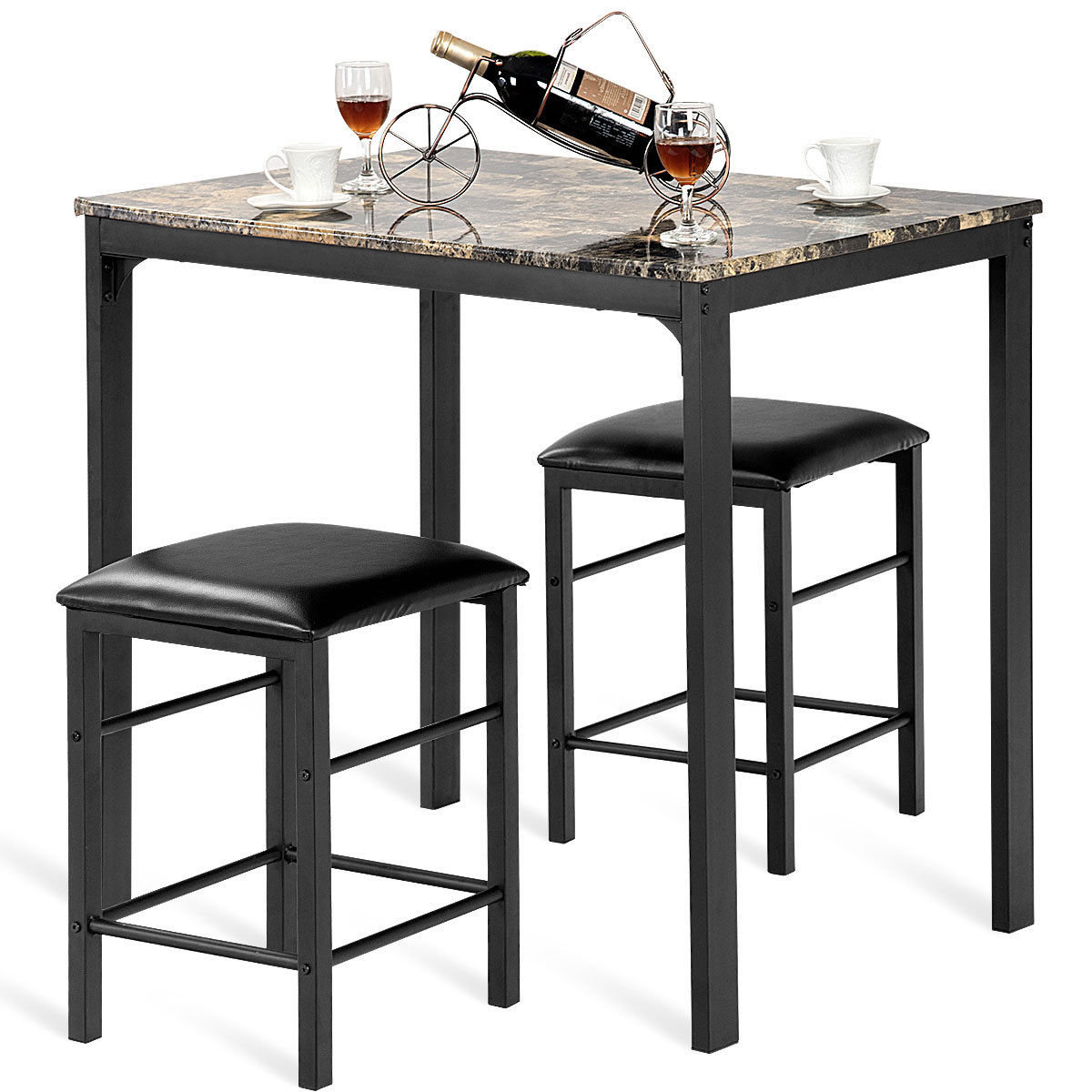 Mitzel 3 Piece Dining Set Inside Trendy Askern 3 Piece Counter Height Dining Sets (Set Of 3) (View 13 of 20)