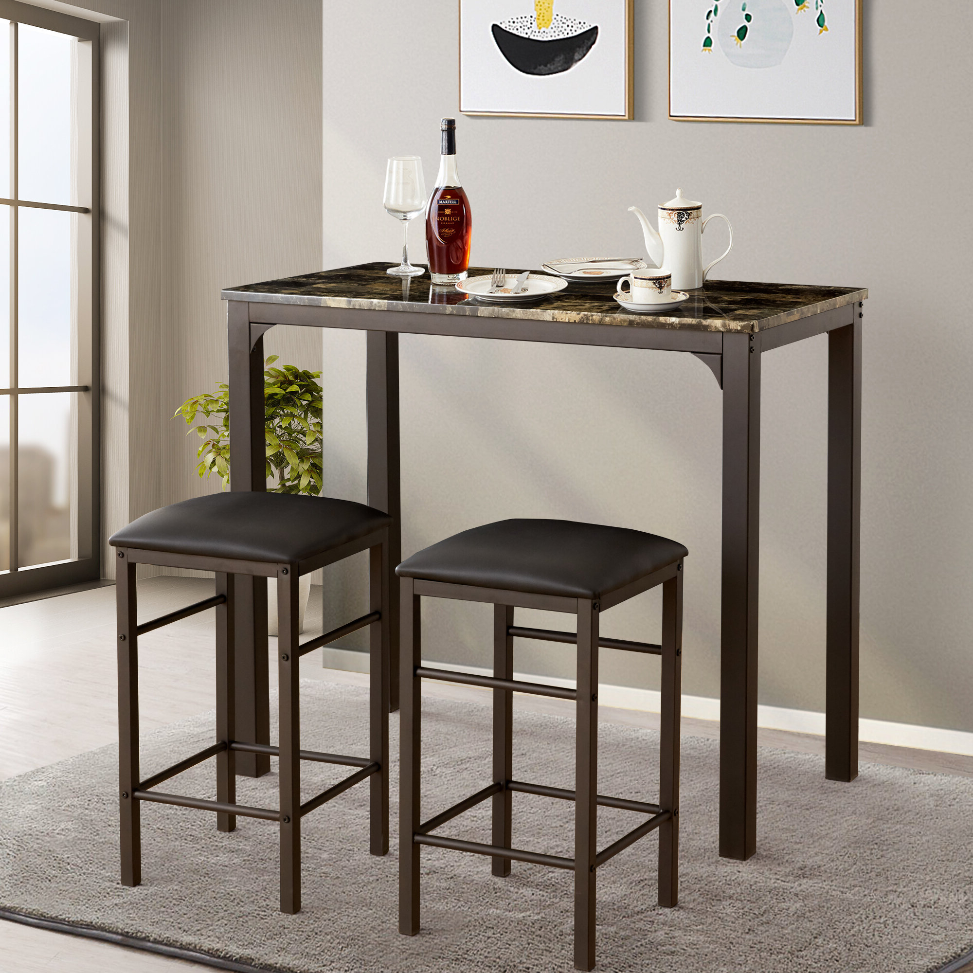 Mizpah 3 Piece Counter Height Dining Sets For Most Recent Tappahannock 3 Piece Counter Height Dining Set (View 7 of 20)