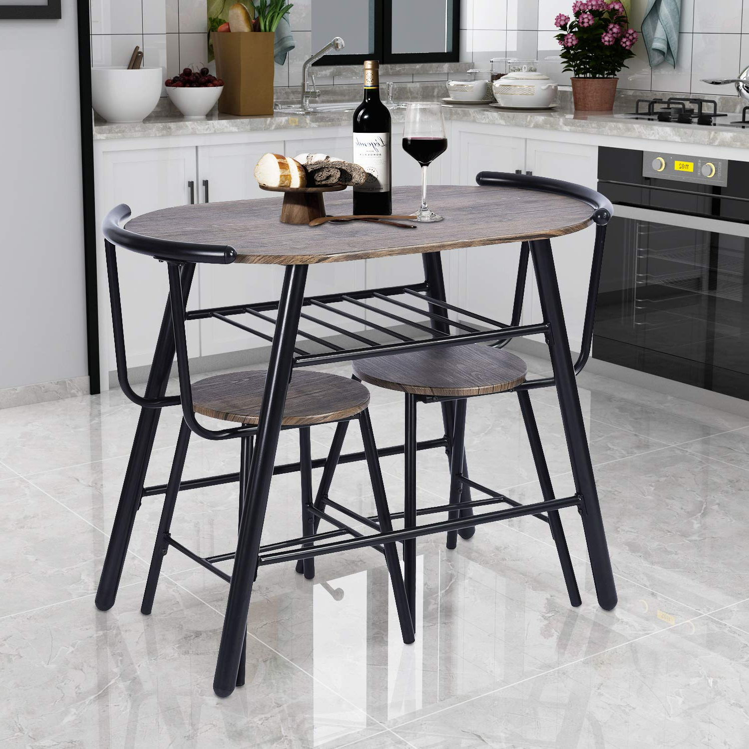 Most Current 3 Piece Breakfast Dining Sets In Greenforest 3 Piece Dining Table And Chairs Set Modern Breakfast Table Sets Rustic Bistro Dining Set Bar Pub Table Sets Restaurant Kitchen Table Set, (View 17 of 20)