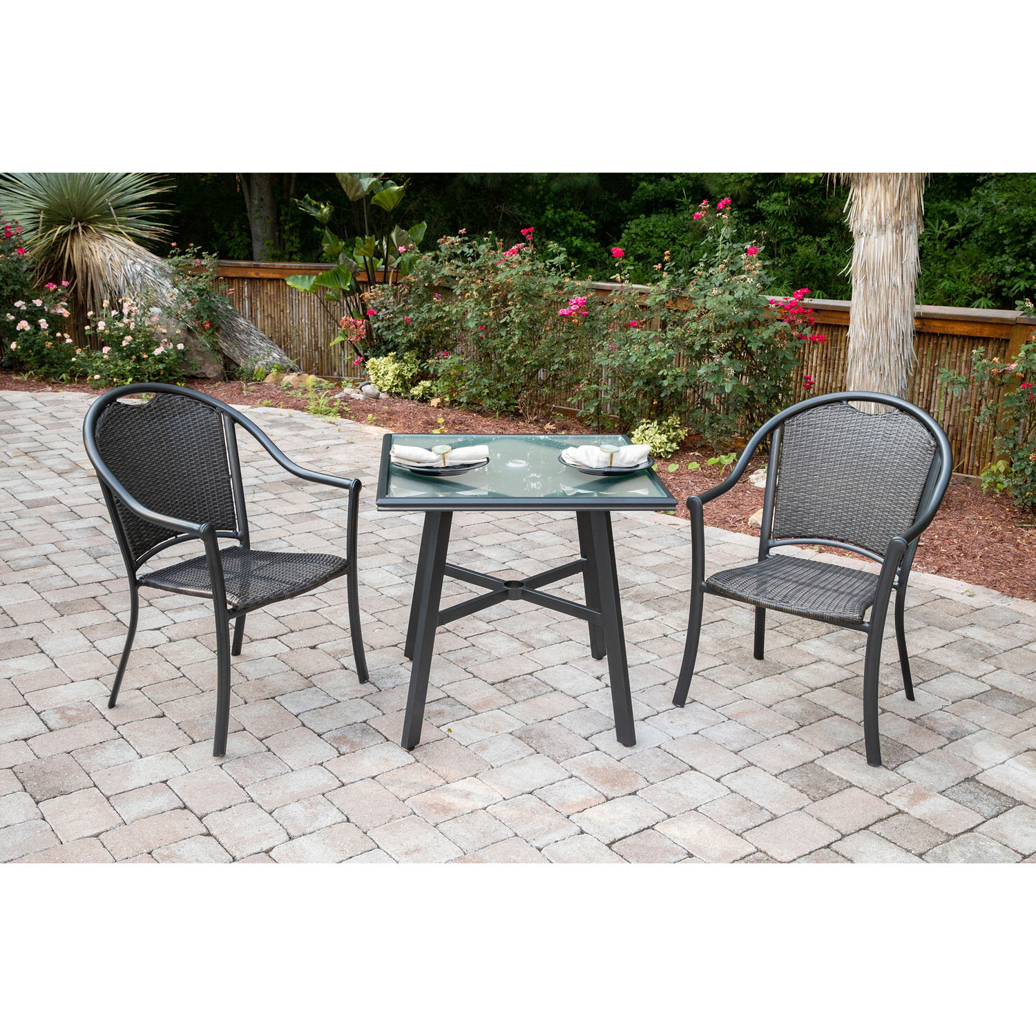 Most Current Bearden 3 Piece Dining Sets Inside Bearden 3 Piece Commercial Grade Patio Set With 2 Woven Dining Chairs And A 30 In (View 4 of 20)