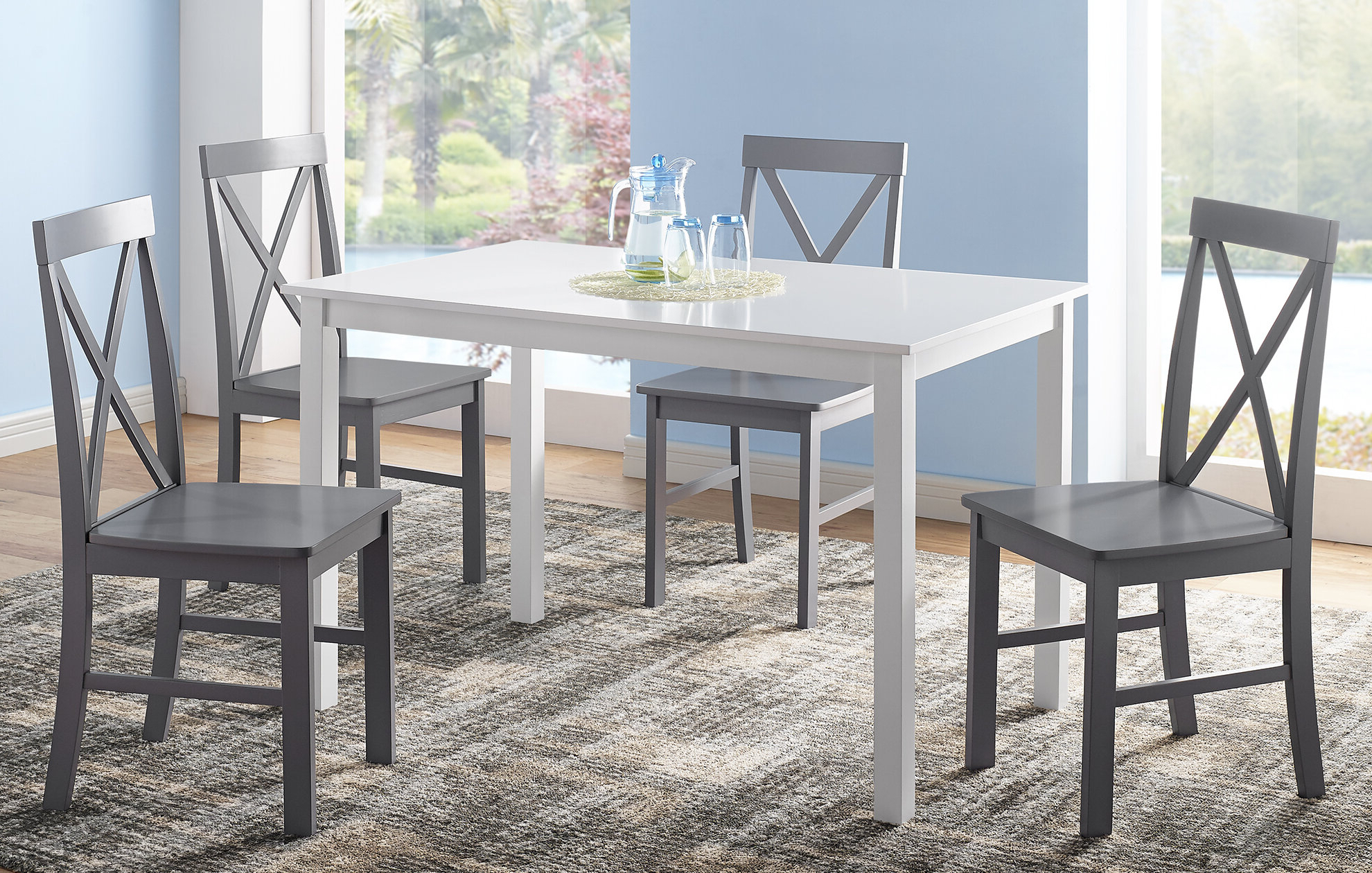 Most Current Rarick 5 Piece Solid Wood Dining Set Throughout Travon 5 Piece Dining Sets (View 9 of 20)
