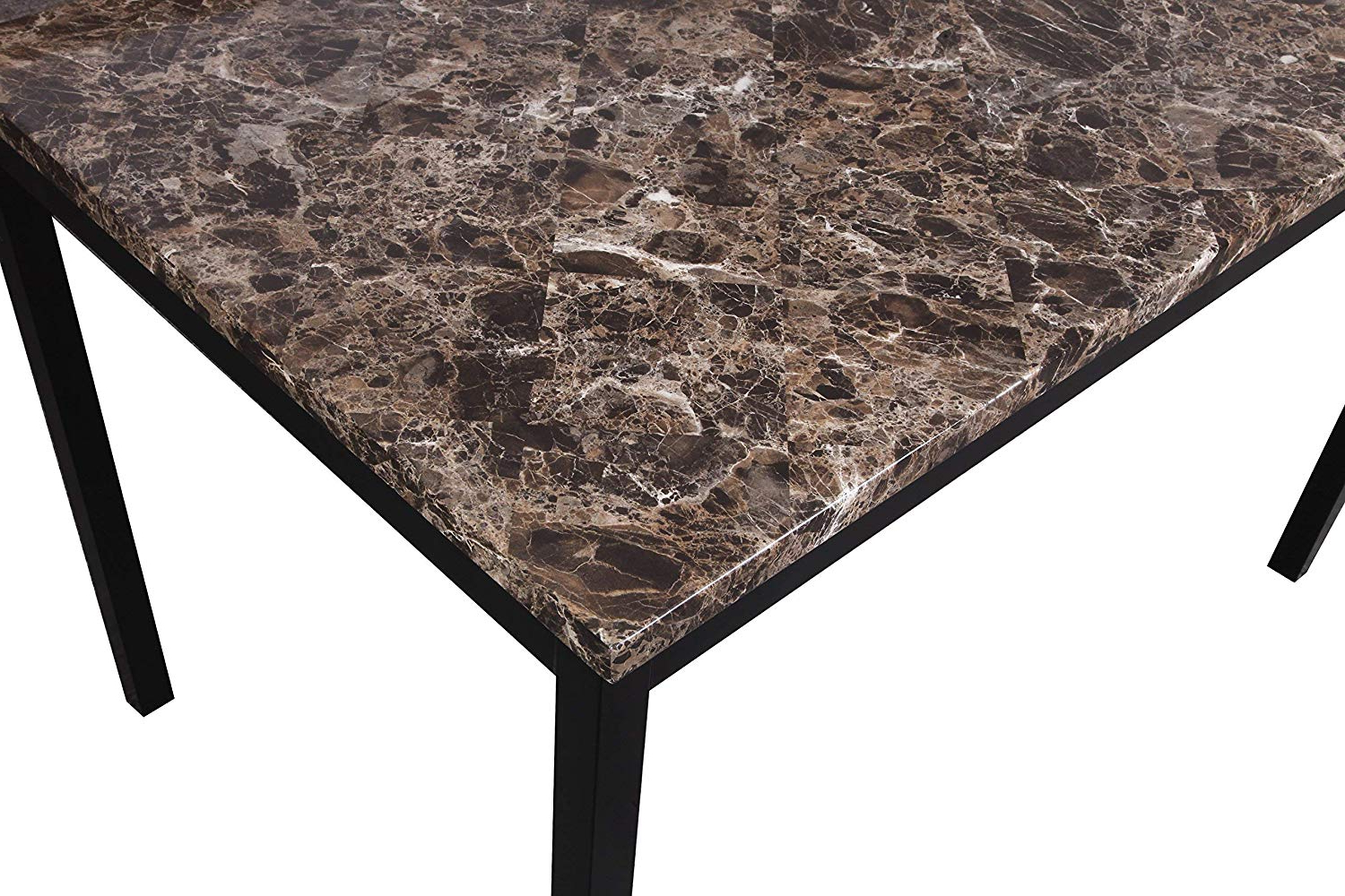 Most Current Roundhill Furniture T007 Noyes Metal Dining Table With Laminated Faux  Marble Top With Noyes 5 Piece Dining Sets (View 5 of 20)