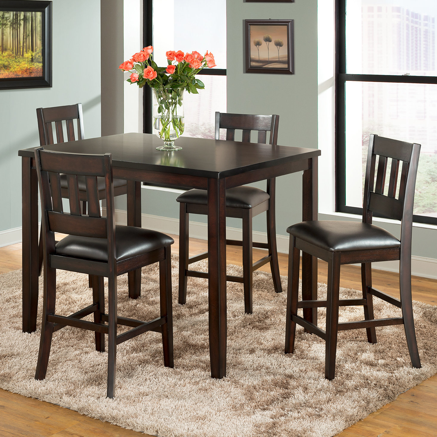Most Popular Americano 5 Piece Pub Table Set In Presson 3 Piece Counter Height Dining Sets (View 7 of 20)