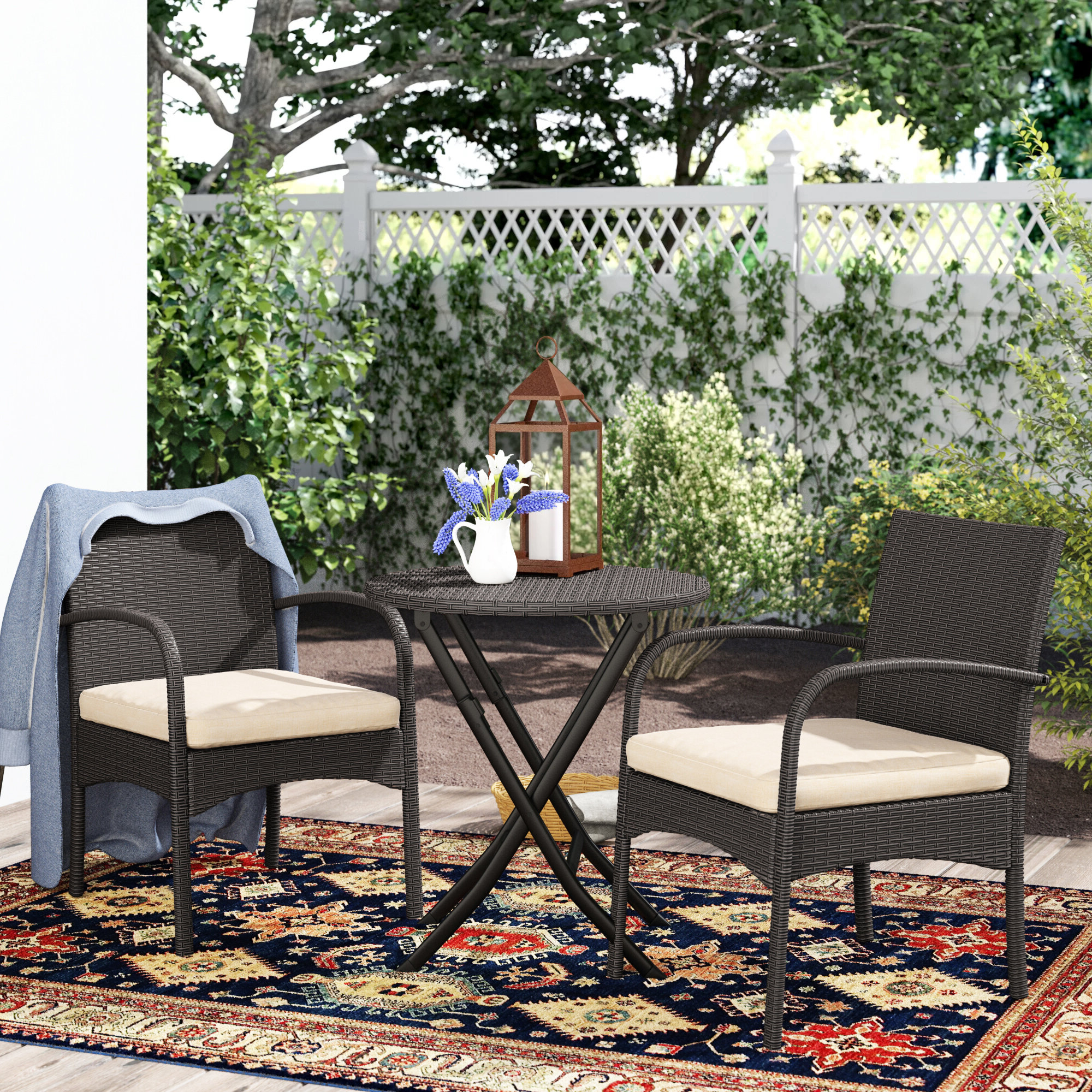 Most Popular Cincinnati 3 Piece Dining Sets Throughout Dereham Outdoor 3 Piece Bistro Set With Cushions (View 19 of 20)