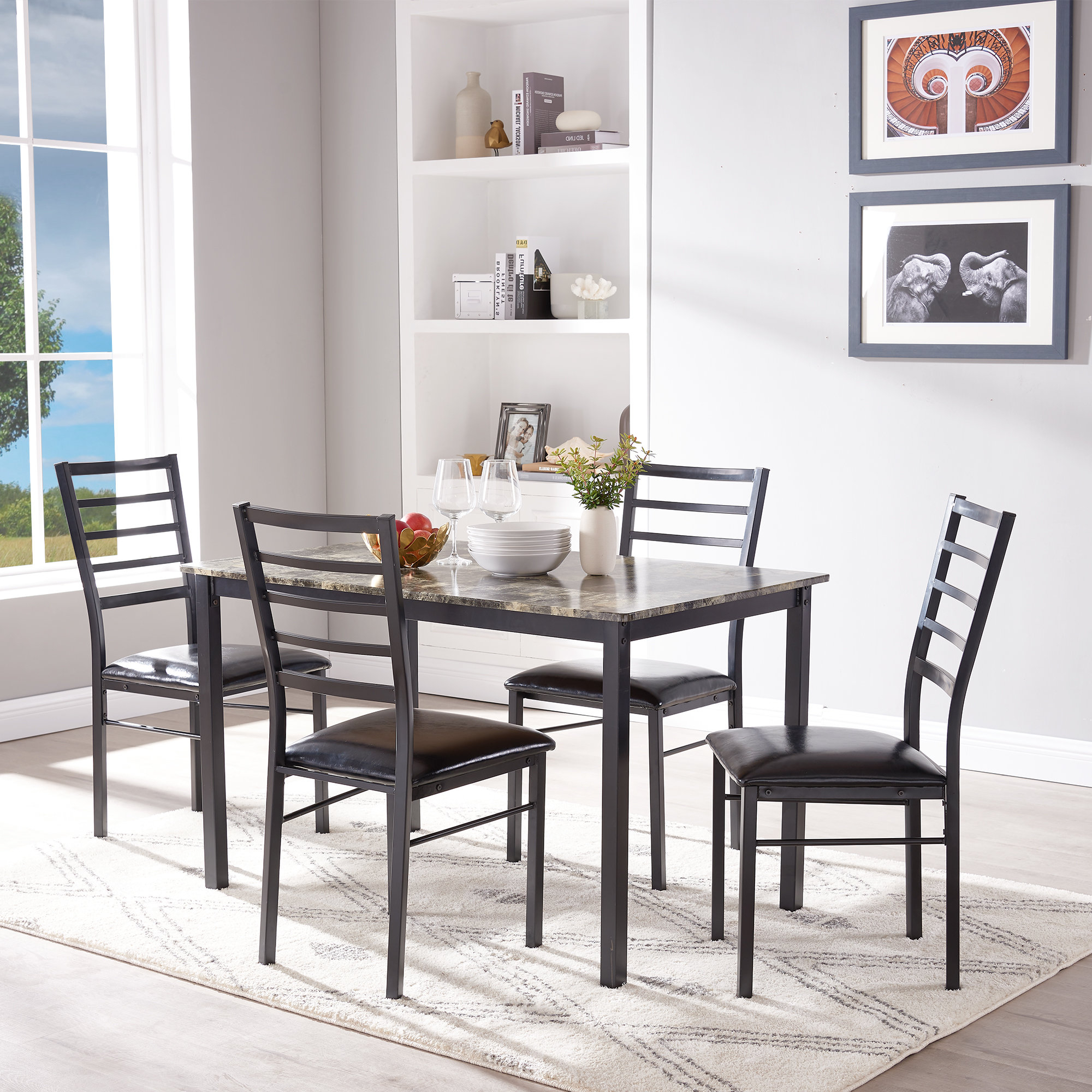 Most Popular Emmeline 5 Piece Breakfast Nook Dining Sets With Regard To Mukai 5 Piece Dining Set (View 13 of 20)