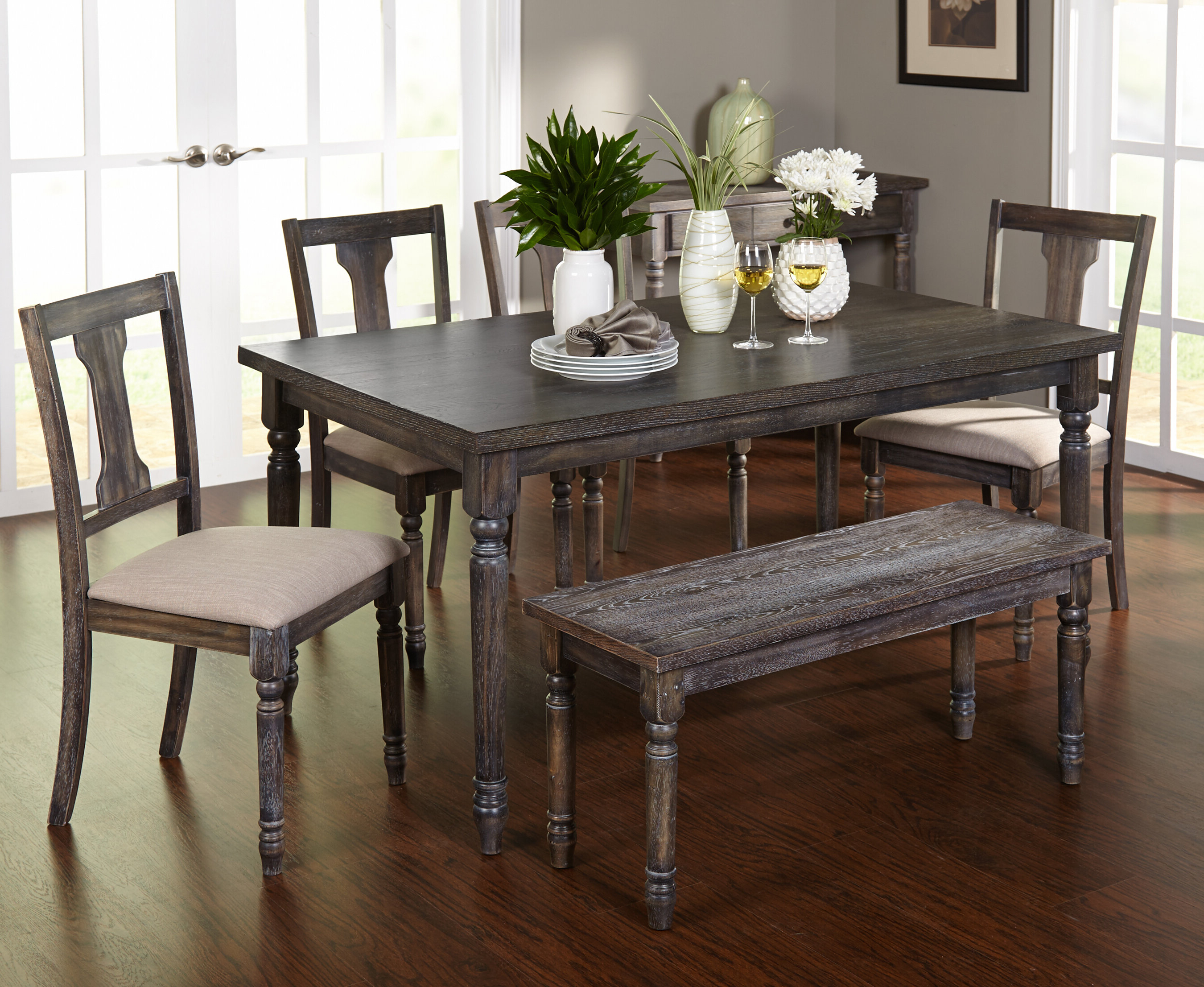 Most Popular Farmhouse & Rustic 6 Piece Dining Sets (View 9 of 20)