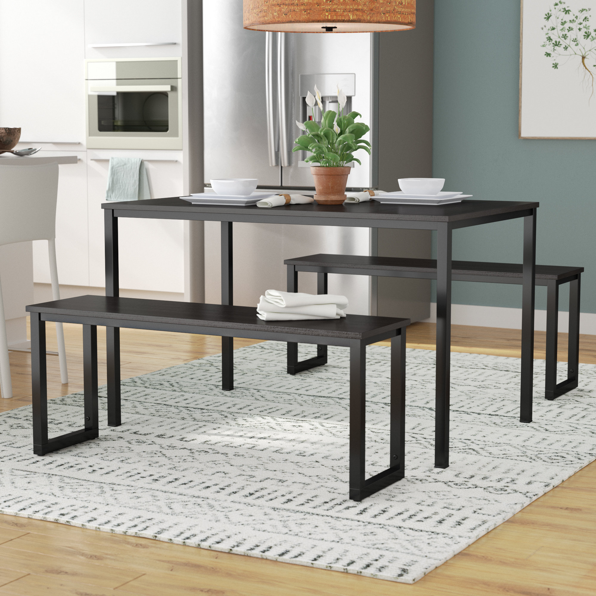 Most Popular Frida 3 Piece Dining Table Set Pertaining To Mysliwiec 5 Piece Counter Height Breakfast Nook Dining Sets (View 9 of 20)