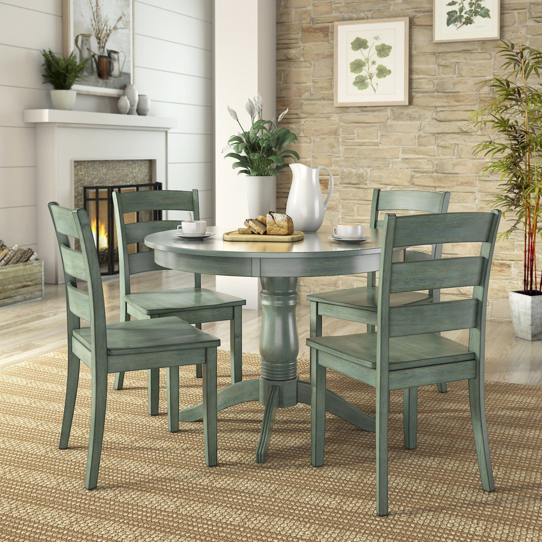 Most Popular Lamotte 5 Piece Dining Sets Within Weston Home Lexington 5 Piece Round Dining Table Set With Ladder (View 16 of 20)