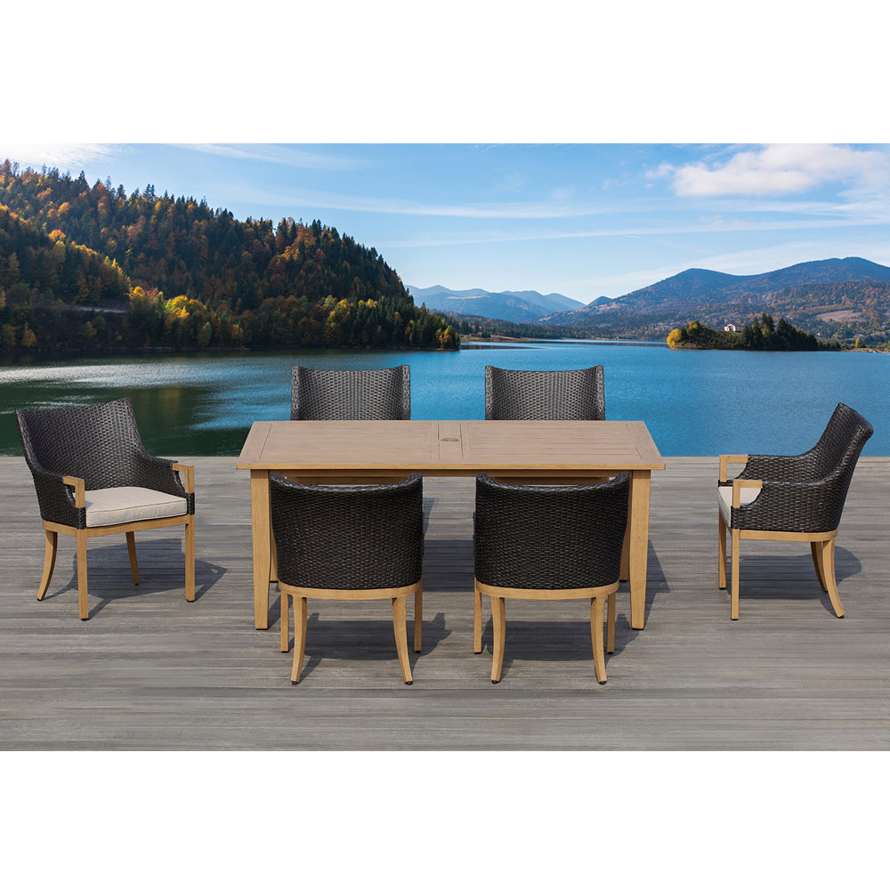 Most Popular Marbella 7 Piece Dining Set With Cushions Pertaining To Rossi 5 Piece Dining Sets (View 18 of 20)