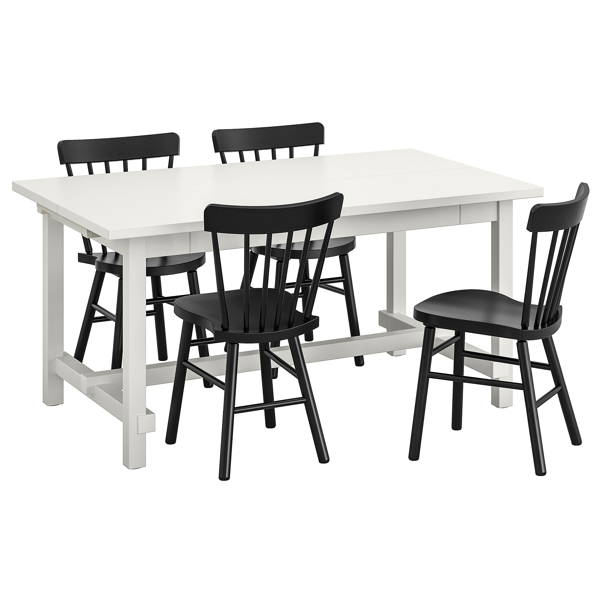 Most Popular Table And 4 Chairs Nordviken / Norraryd White, Black Intended For Castellanos Modern 5 Piece Counter Height Dining Sets (View 15 of 20)