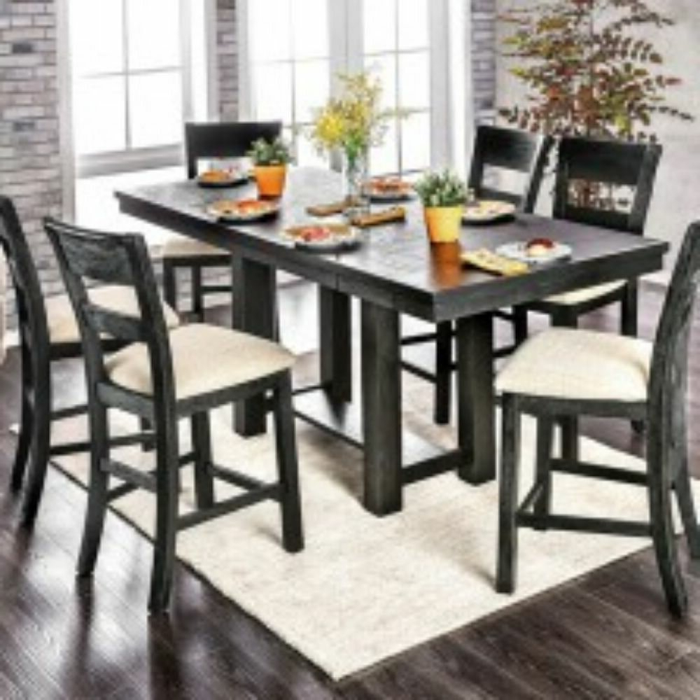 Most Popular Turnalar 5 Piece Dining Sets With Regard To Shaver 7 Piece Counter Height Solid Wood Dining Set (View 15 of 20)