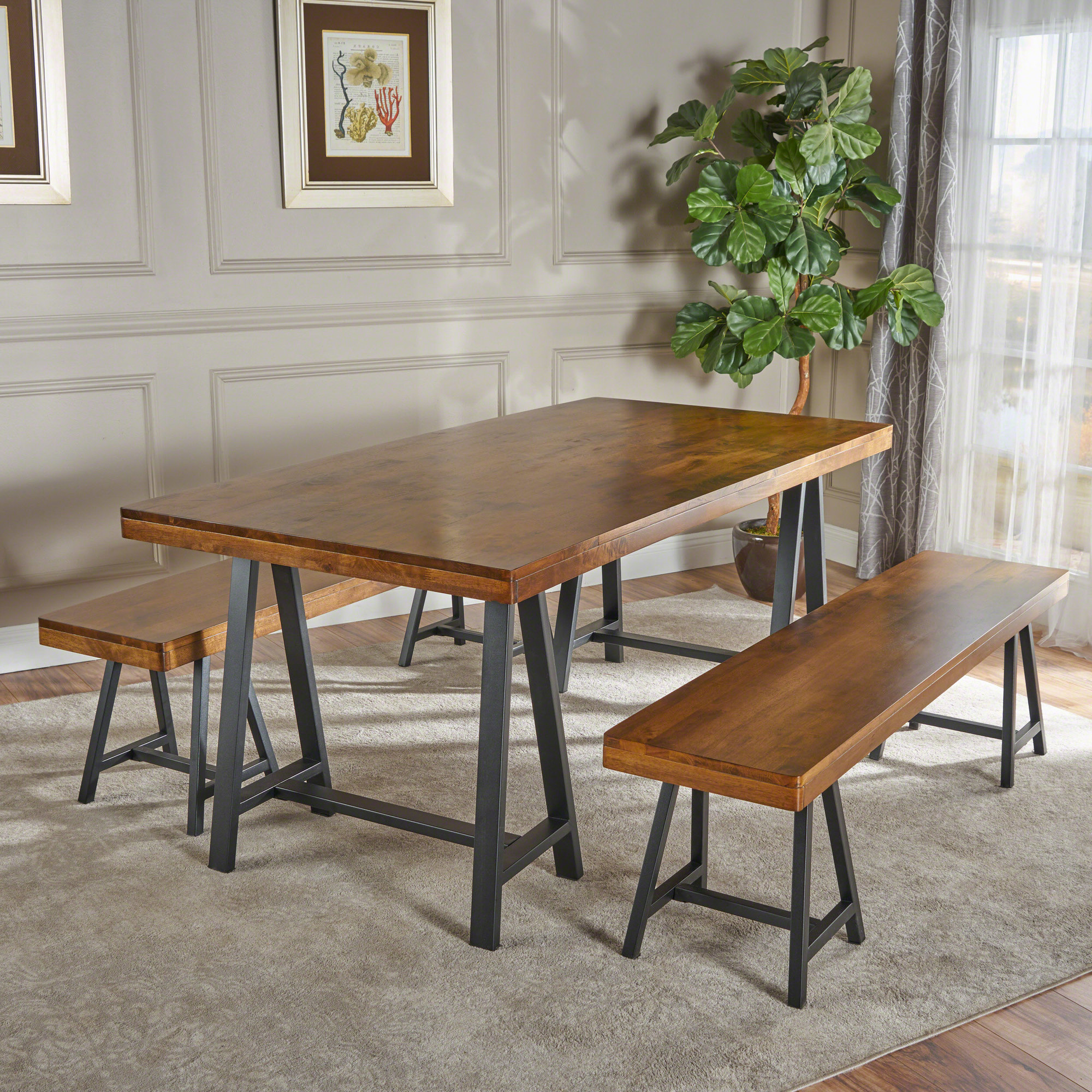 Most Recent Autberry 5 Piece Dining Sets Throughout Details About Gracie Oaks Mannino Wood Picnic 3 Piece Dining Set (View 12 of 20)