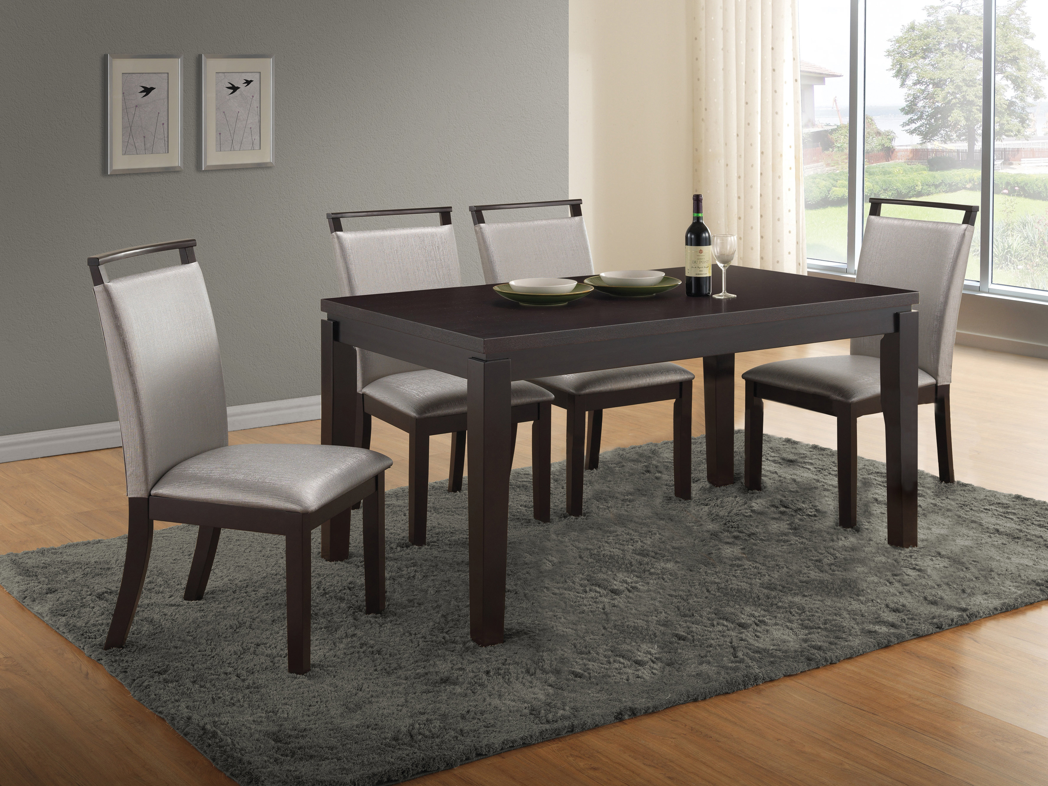 Most Recent Baillie 3 Piece Dining Sets Intended For Wimbish 5 Piece Solid Wood Dining Set (View 13 of 20)