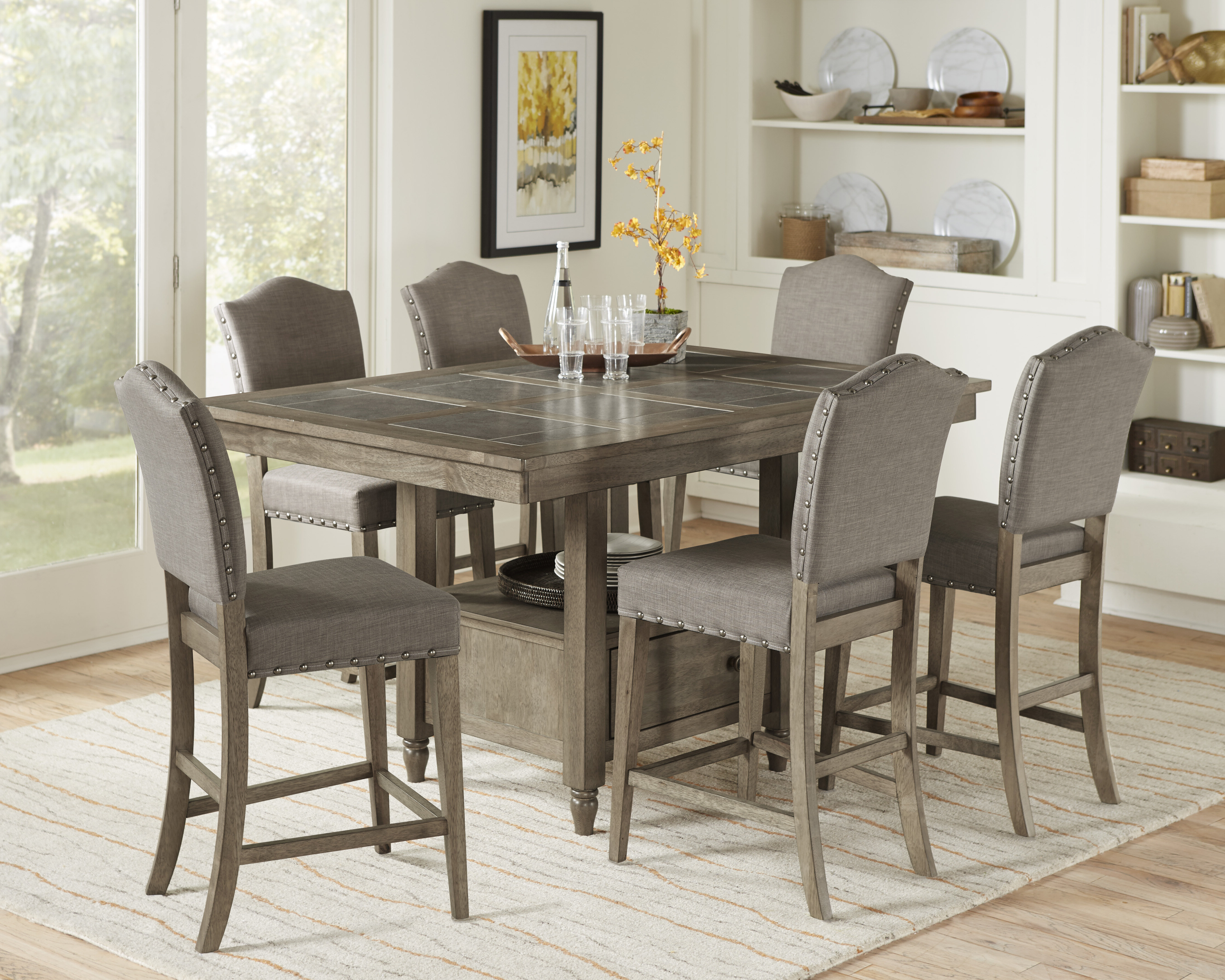Most Recent Carley 7 Piece Pub Table Set Regarding Laconia 7 Pieces Solid Wood Dining Sets (set Of 7) (View 11 of 20)