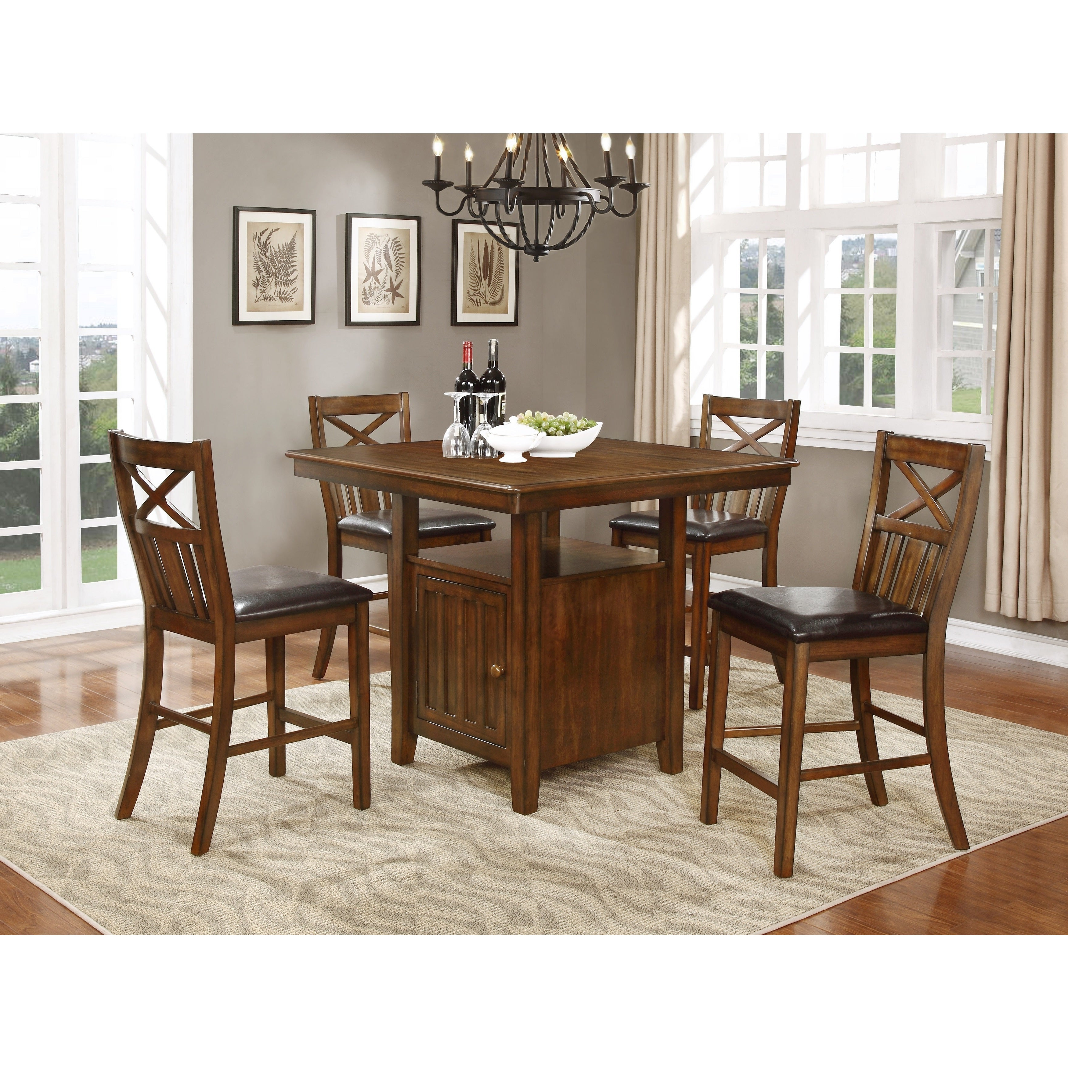 Most Recently Released Bryson Cherry Brown Counter Height Dining Table Set W/ Storage Throughout Bryson 5 Piece Dining Sets (View 5 of 20)