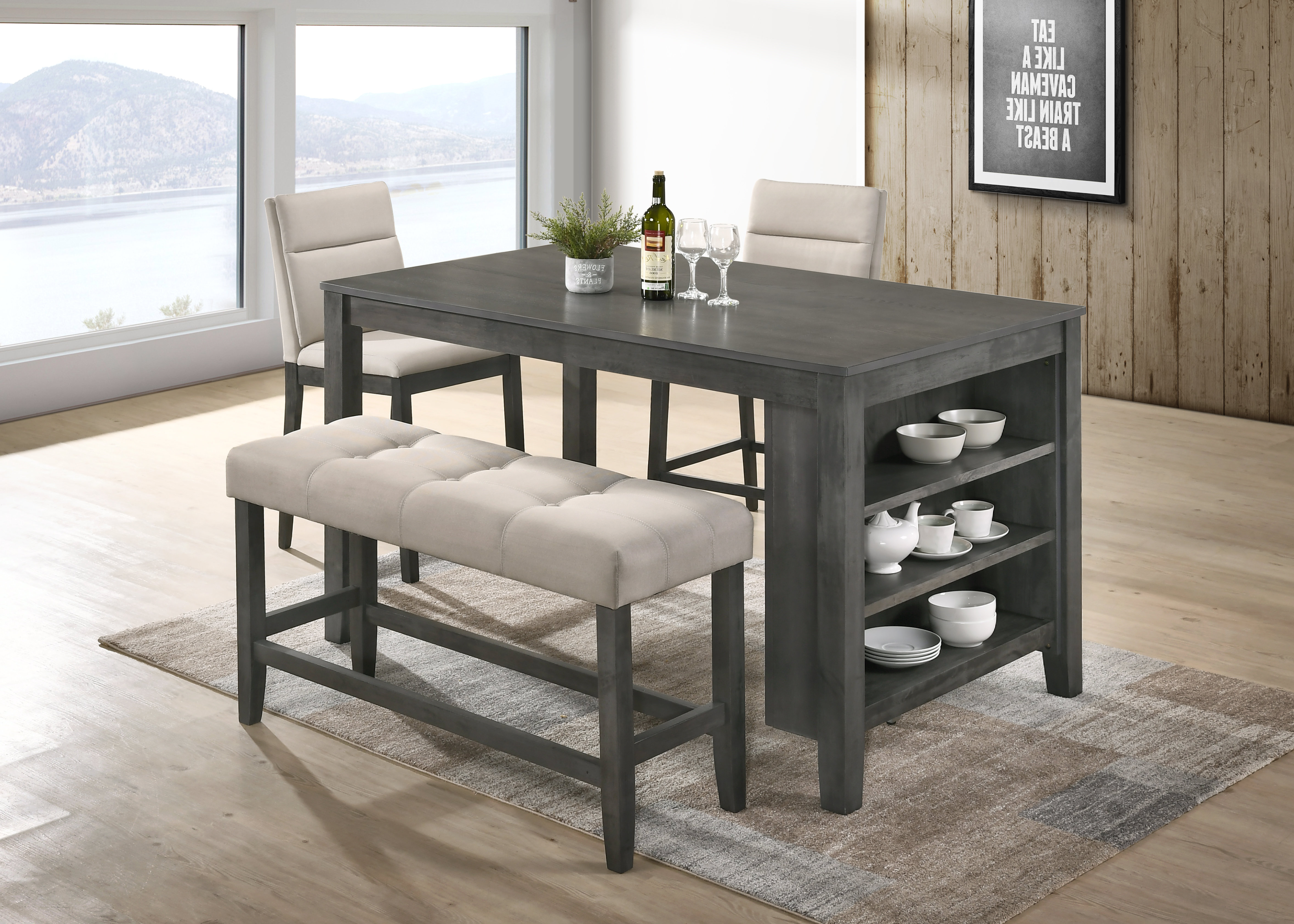 Most Recently Released Derrick 4 Piece Counter Height Dining Set Within Weatherholt Dining Tables (View 13 of 20)