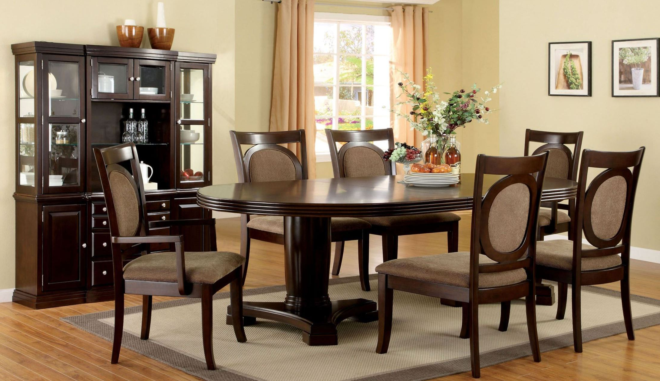 Most Recently Released Evellen 5 Piece Solid Wood Dining Sets (Set Of 5) In Evelyn Walnut Oval Extendable Pedestal Dining Room Set (View 13 of 20)
