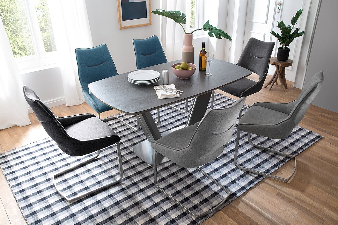 Most Recently Released Jarrod 5 Piece Dining Sets Pertaining To Jarrod Grey And Anthracite Ceramic Extending Dining Table 160Cm (View 17 of 20)