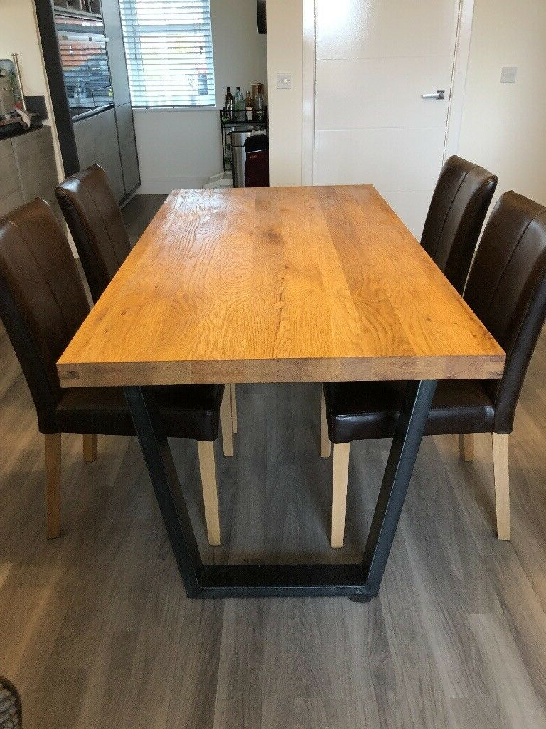 Most Recently Released John 4 Piece Dining Sets Pertaining To John Lewis Calia 6 Seater Dining Table, Oak And 4 Calia Brown Distressed  Leather Dining Chairs (View 16 of 20)