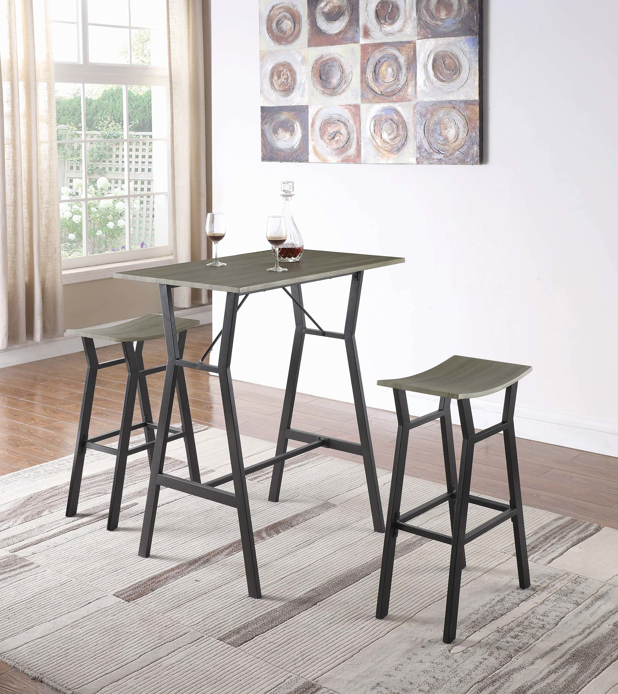 Most Recently Released Mizpah 3 Piece Counter Height Dining Sets Inside Carrico 3 Piece Pub Table Set (View 14 of 20)