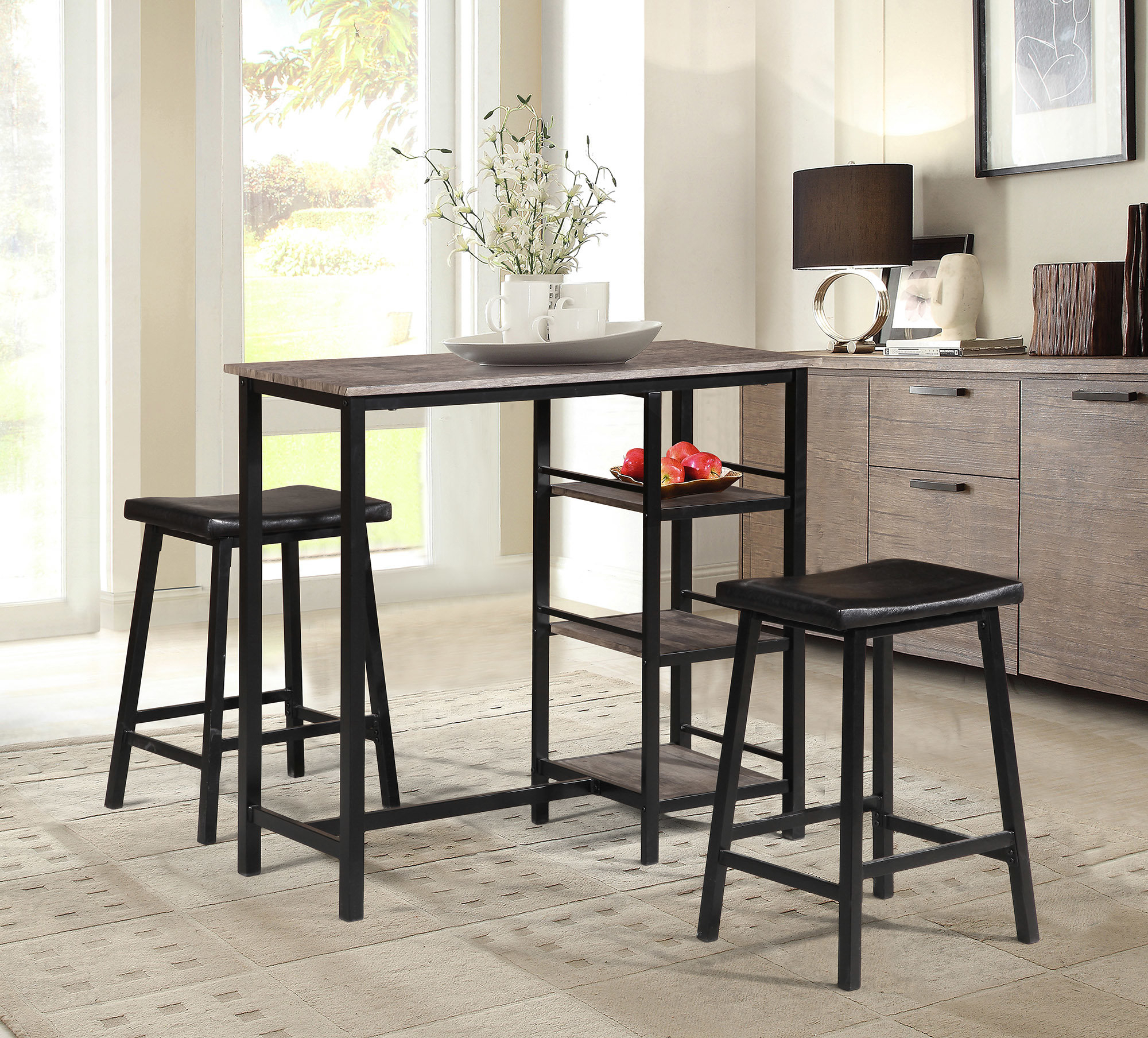 Most Recently Released Oviedo 3 Piece Pub Table Set Throughout Kernville 3 Piece Counter Height Dining Sets (View 9 of 20)