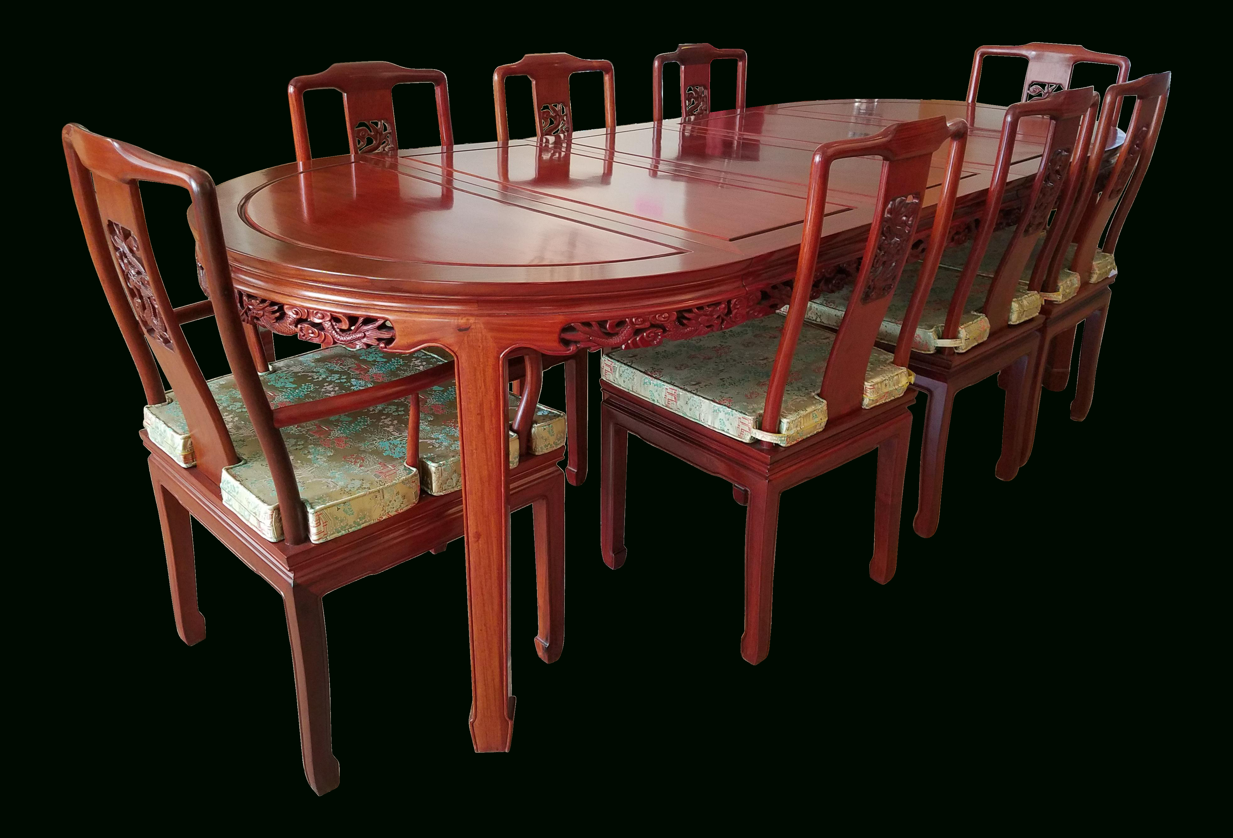 Most Recently Released Vintage Chinese Rosewood Hand Carved Imperial Dragon Dining Table Throughout Laconia 7 Pieces Solid Wood Dining Sets (set Of 7) (View 17 of 20)