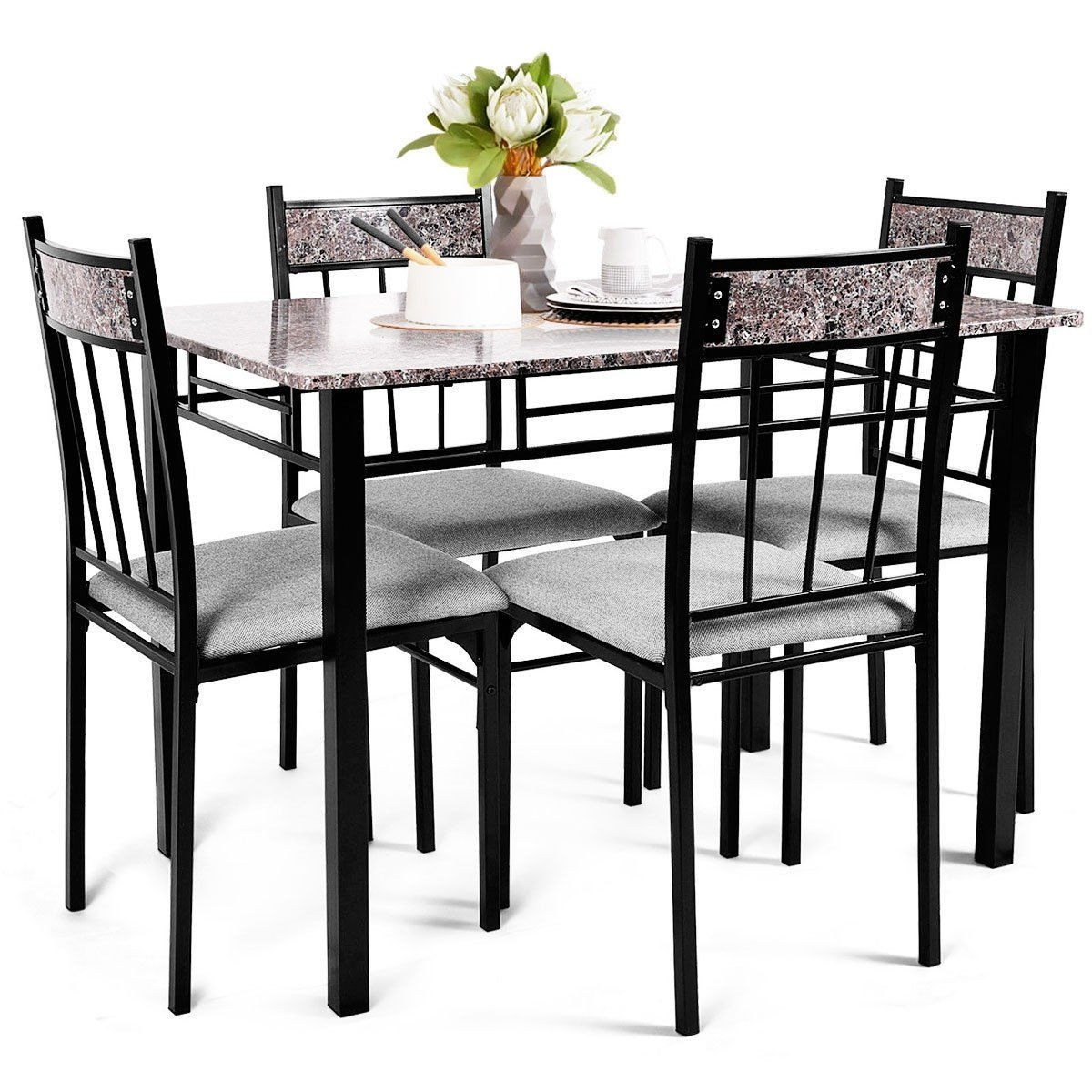 Most Up To Date 5 Pcs Faux Marble Dining Set Table In (View 12 of 20)