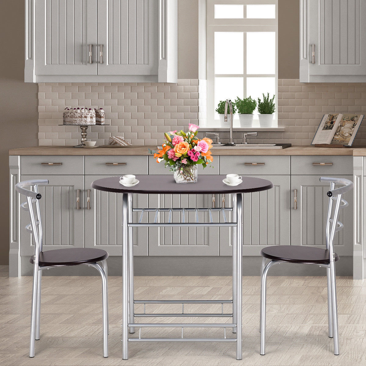 Most Up To Date Details About Ebern Designs Lelia 3 Piece Breakfast Nook Dining Set Within Lillard 3 Piece Breakfast Nook Dining Sets (View 5 of 20)