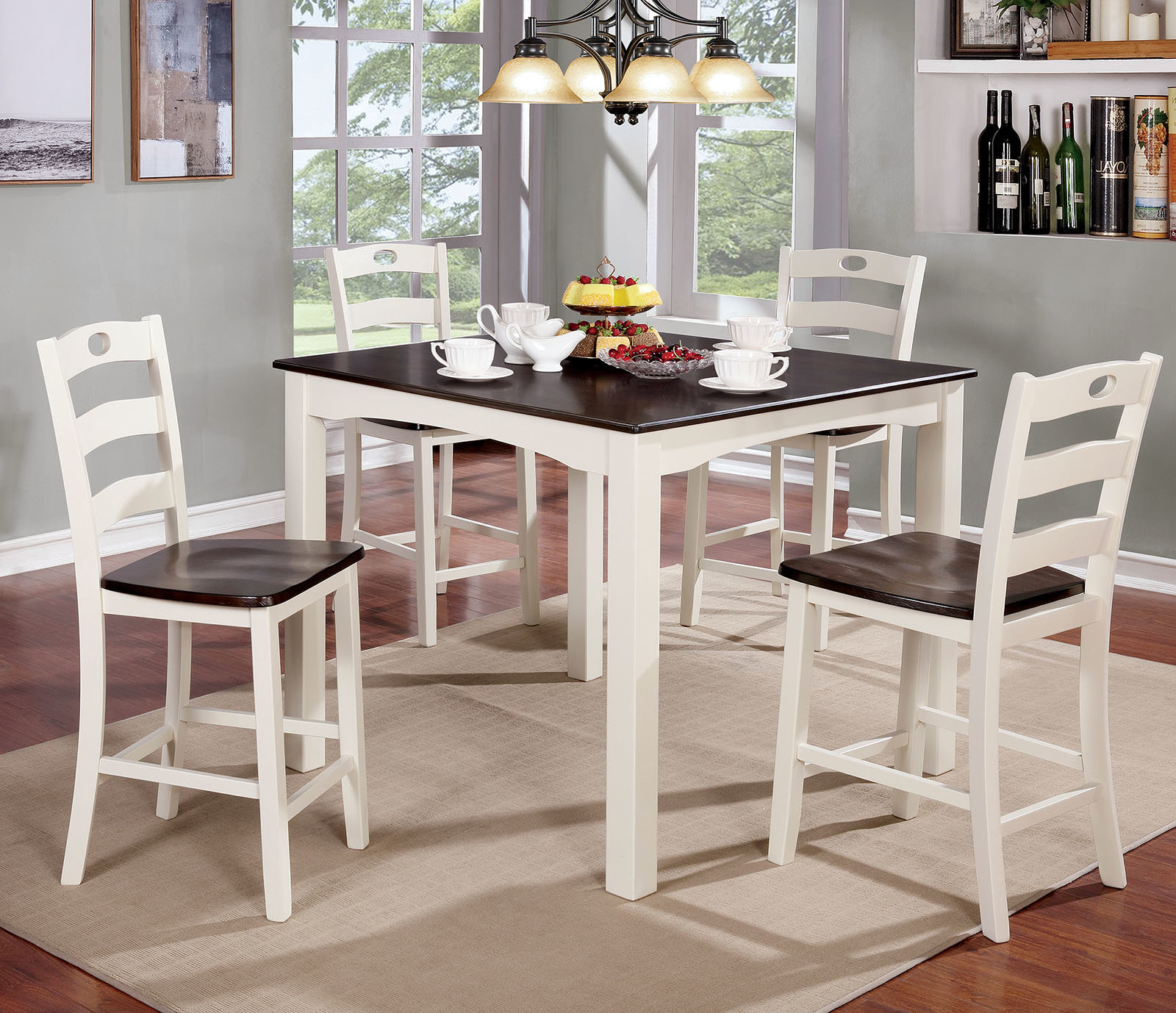 Most Up To Date Hanska Wooden 5 Piece Counter Height Dining Table Sets (Set Of 5) Regarding Details About Red Barrel Studio Harkins Wooden 5 Piece Counter Height  Dining Table Set (View 14 of 20)
