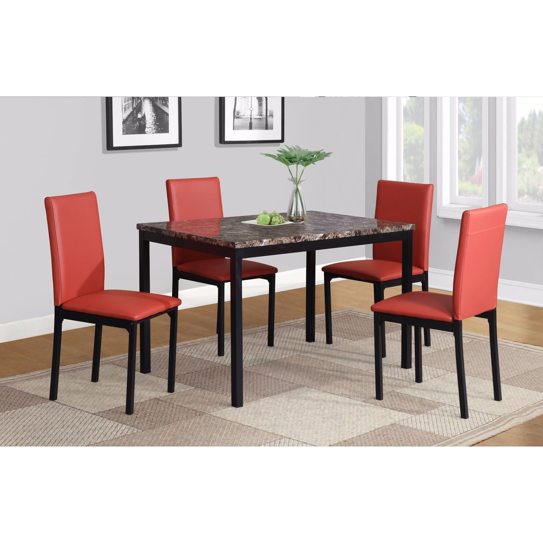 Most Up To Date Noyes Faux Leather Seat Metal Frame Black Dining Chairs, Set Of 4 Inside Noyes 5 Piece Dining Sets (View 6 of 20)