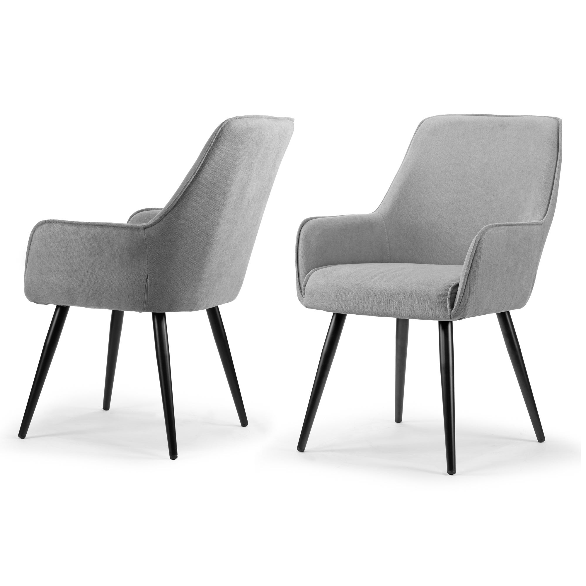 Most Up To Date Set Of 2 Amir Grey Dining Chair With Black Metal Legs And Square Arms Pertaining To Amir 5 Piece Solid Wood Dining Sets (Set Of 5) (View 17 of 20)