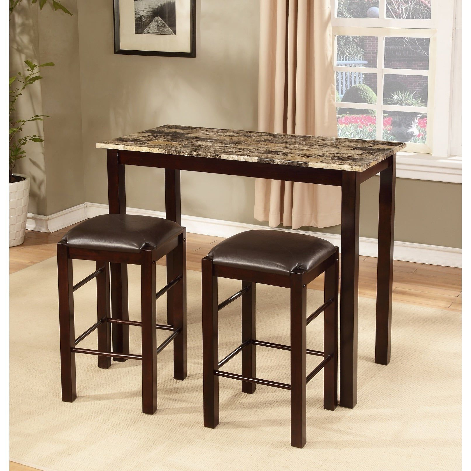 Most Up To Date Tenney 3 Piece Counter Height Dining Sets Regarding Copper Grove Luther 3 Piece Espresso Counter Height Table And Chair (View 9 of 20)