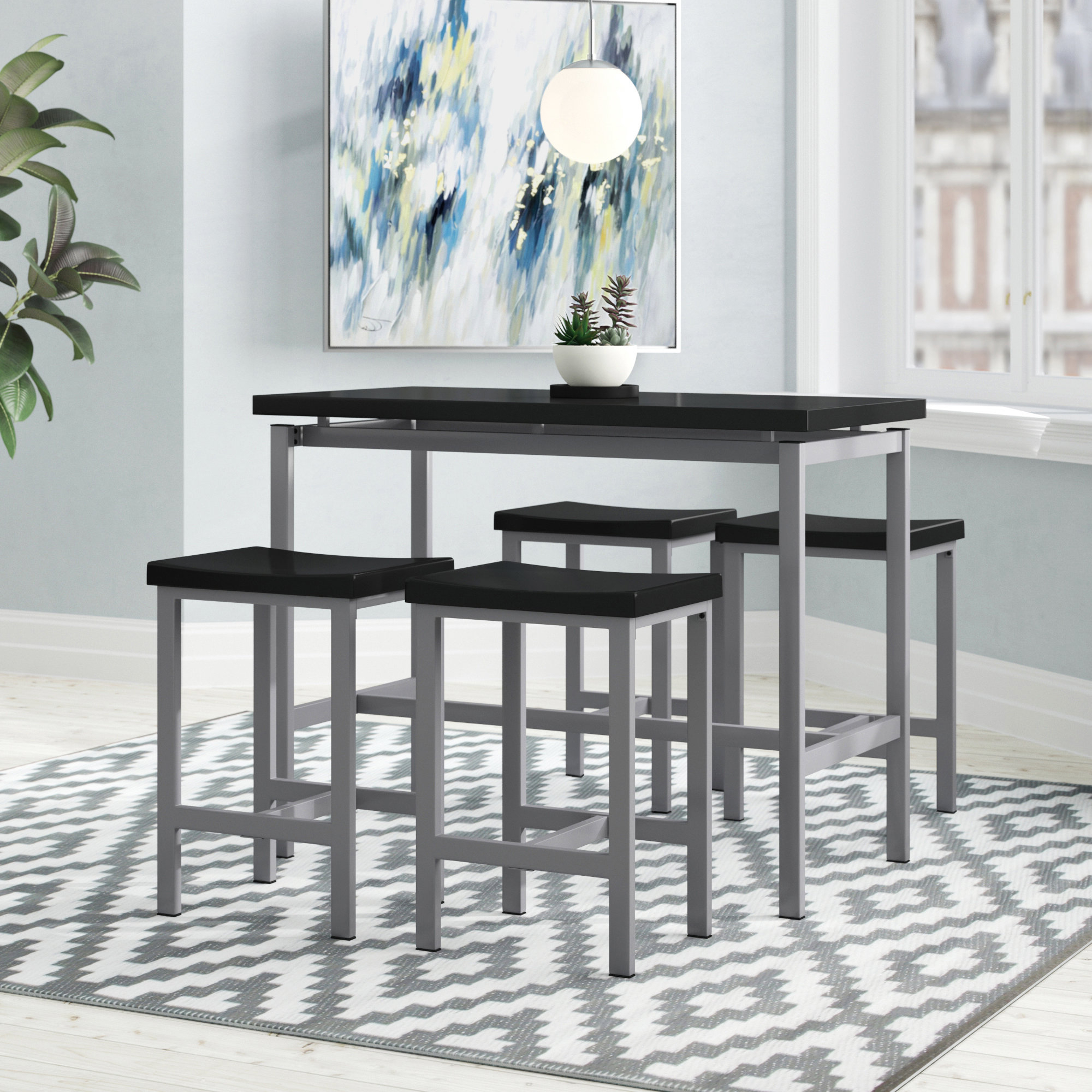 Mysliwiec 5 Piece Counter Height Breakfast Nook Dining Set With Well Known Honoria 3 Piece Dining Sets (View 10 of 20)