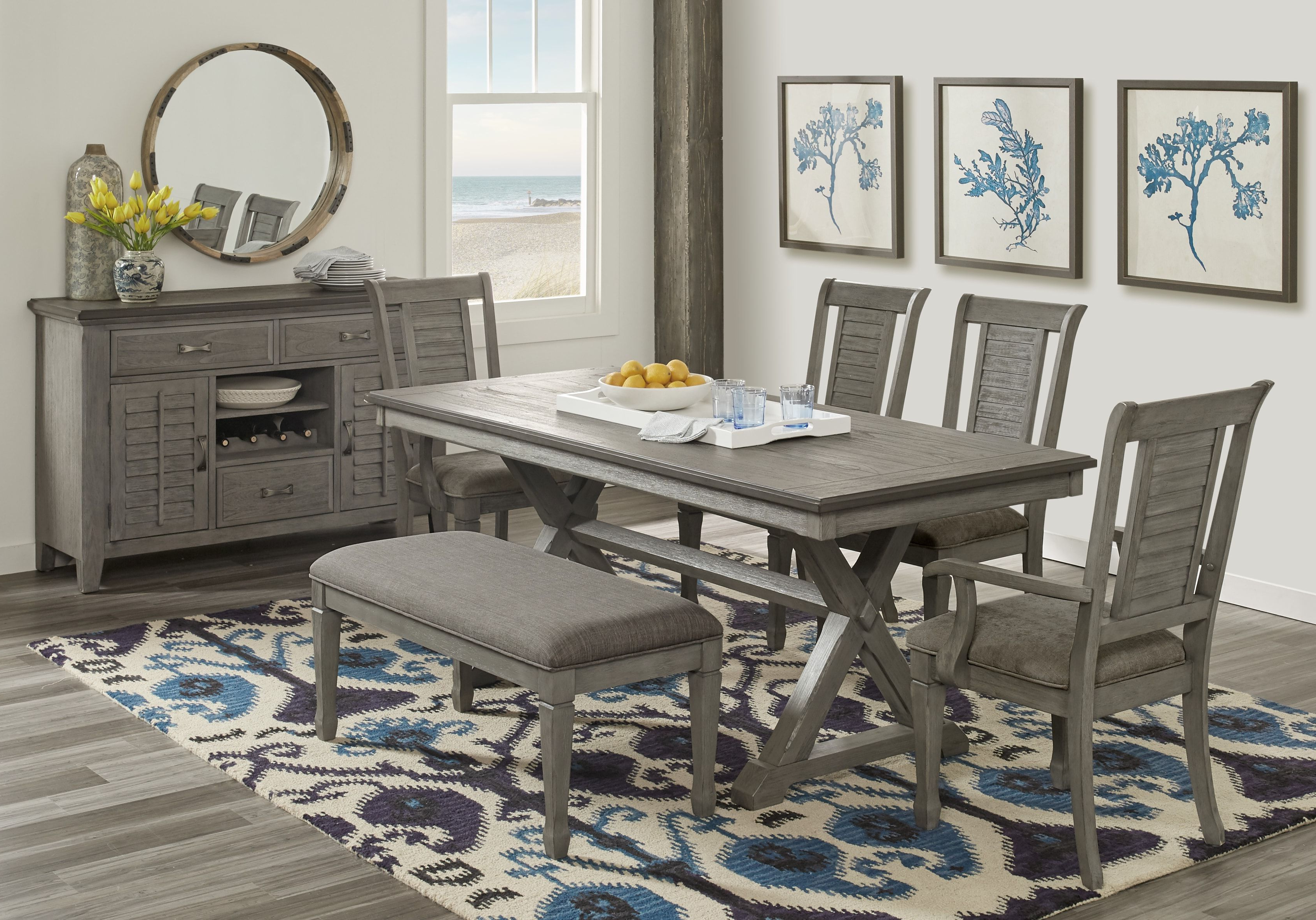 Nantucket Breeze Gray 3 Pc Dining Room In  (View 9 of 20)