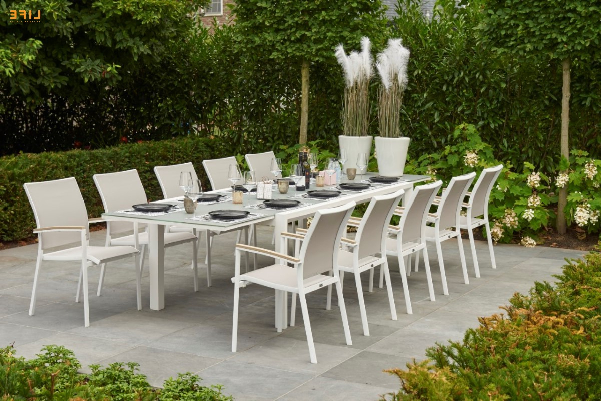 Newest Anabel Dining Extendable White – Life Outdoor Living Regarding Osterman 6 Piece Extendable Dining Sets (set Of 6) (View 20 of 20)
