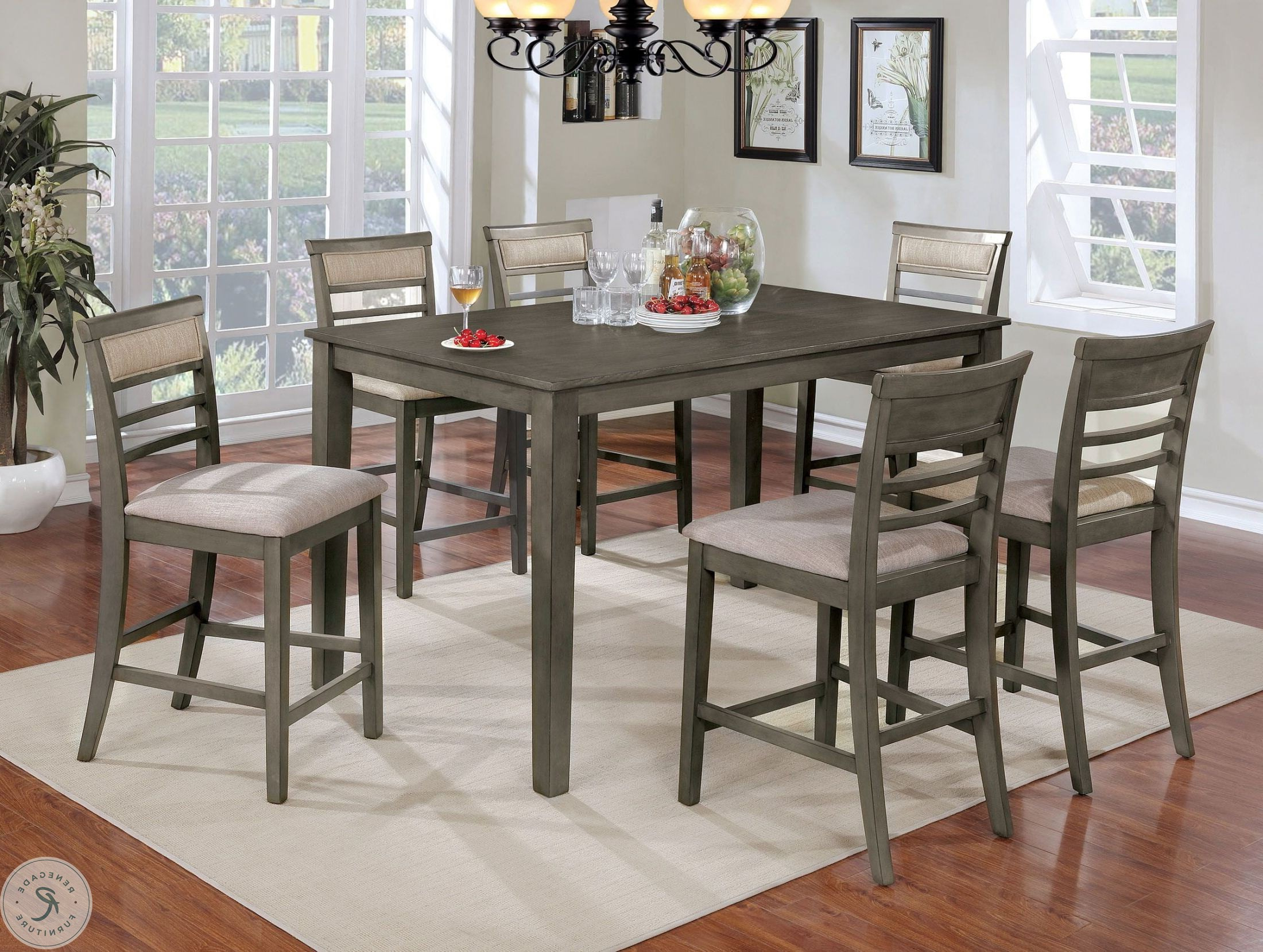 Newest Anette 3 Piece Counter Height Dining Sets With Regard To Fafnir Gray 7 Piece Counter Height Dining Room Set (View 14 of 20)