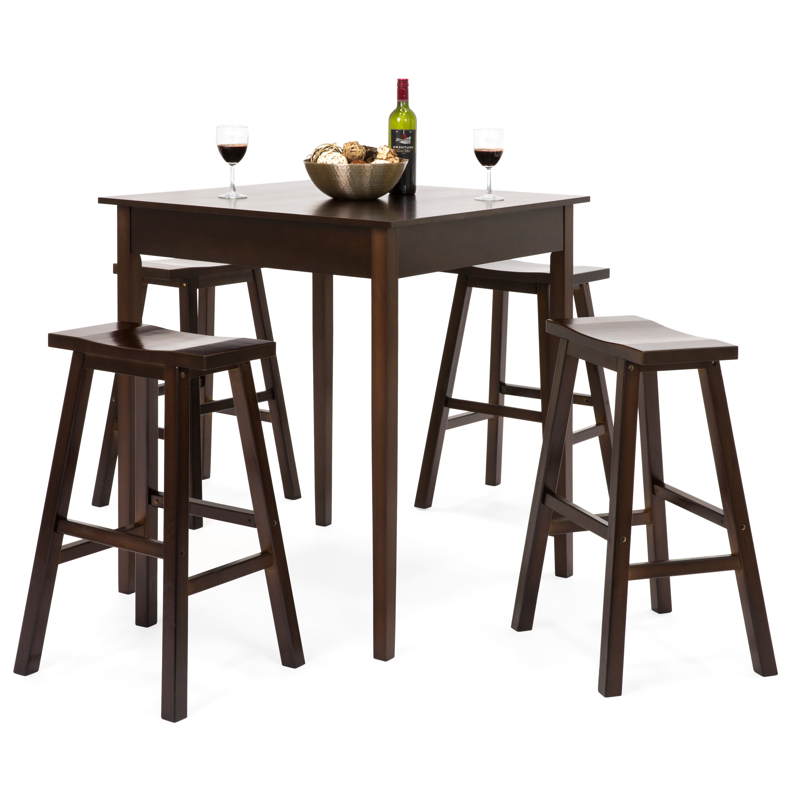 Newest Best Choice Products 5 Piece Solid Wood Dining Pub Bar Table Set With 4  Backless Saddle Stools Inside Biggs 5 Piece Counter Height Solid Wood Dining Sets (Set Of 5) (Gallery 11 of 20)