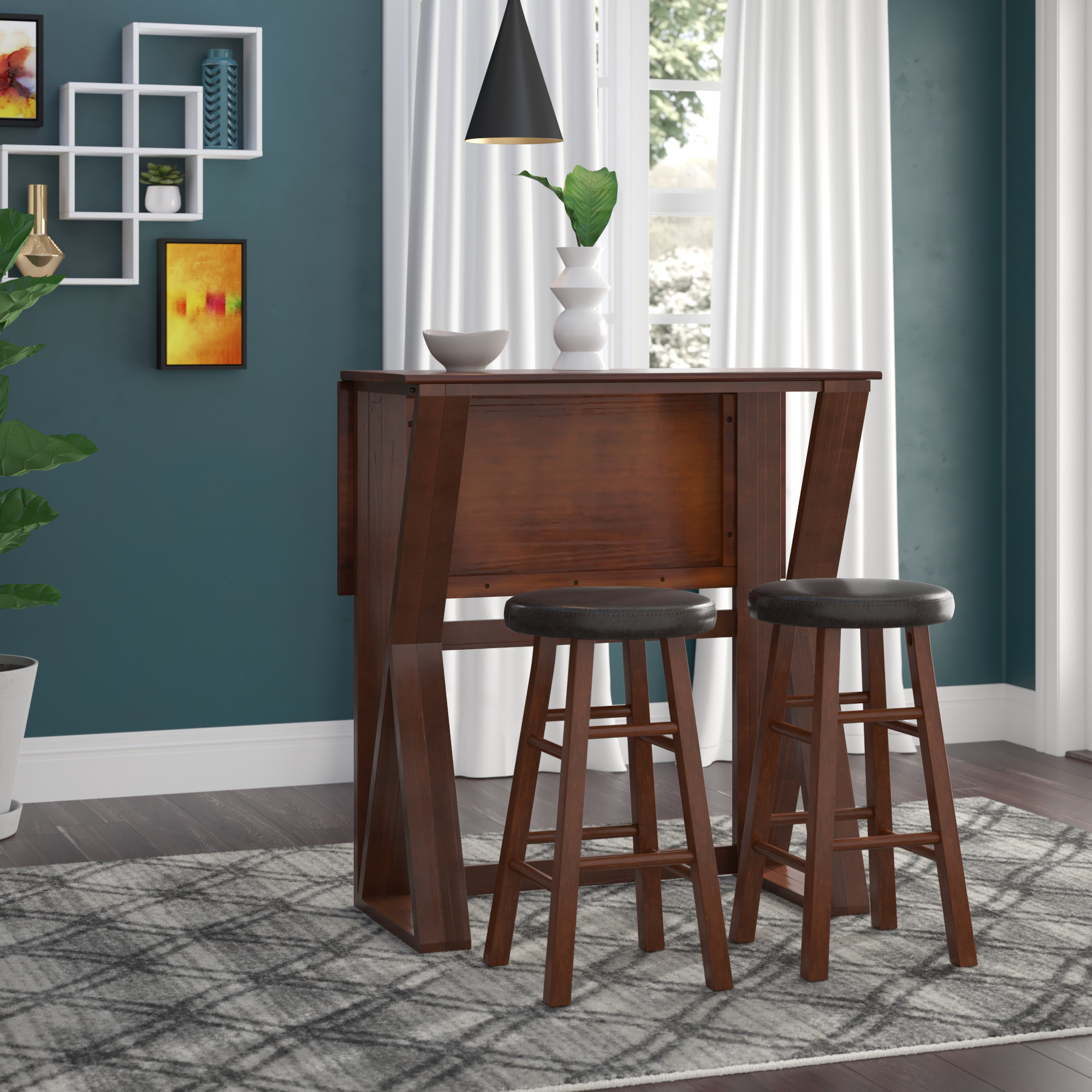 Newest Brayan 3 Piece Drop Leaf Solid Wood Dining Set For Bettencourt 3 Piece Counter Height Solid Wood Dining Sets (View 15 of 20)
