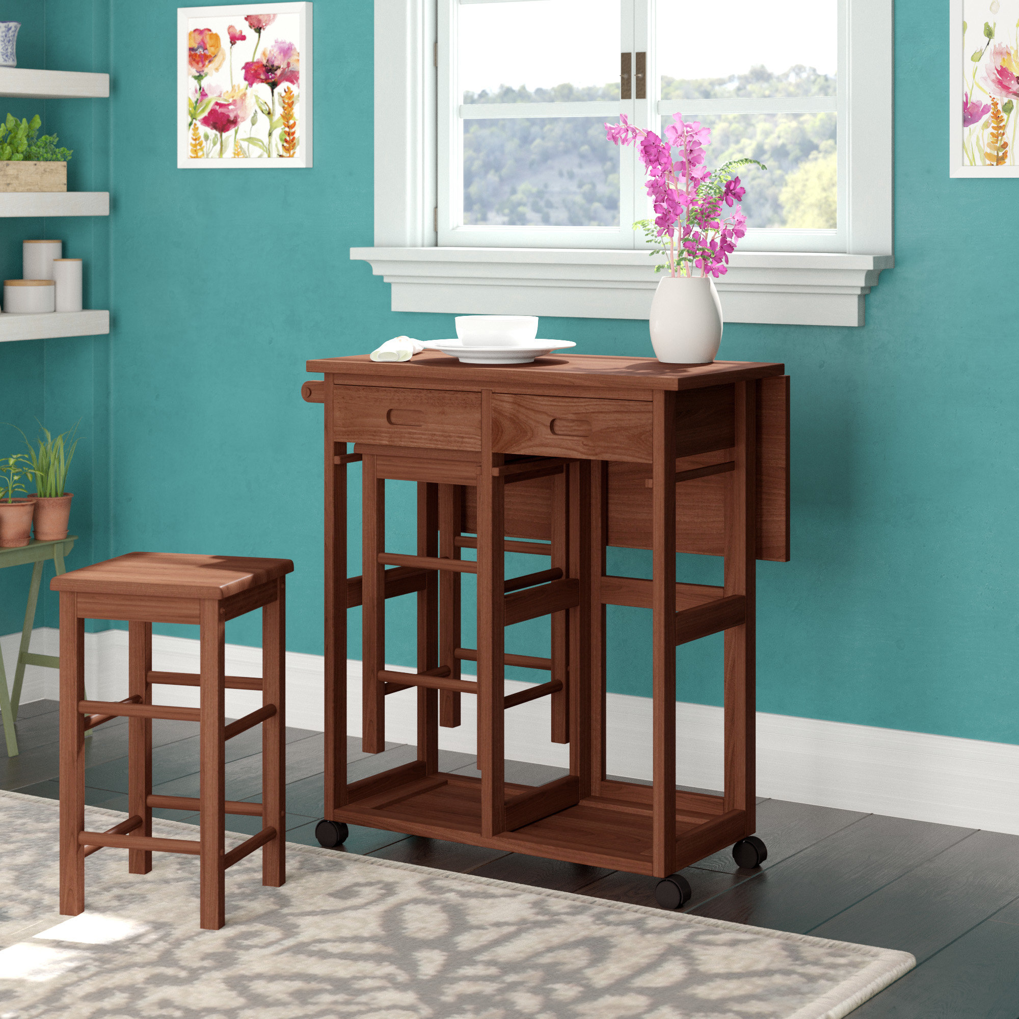Newest Callaghan 3 Piece Drop Leaf Dining Set With Regard To Poynter 3 Piece Drop Leaf Dining Sets (View 10 of 20)