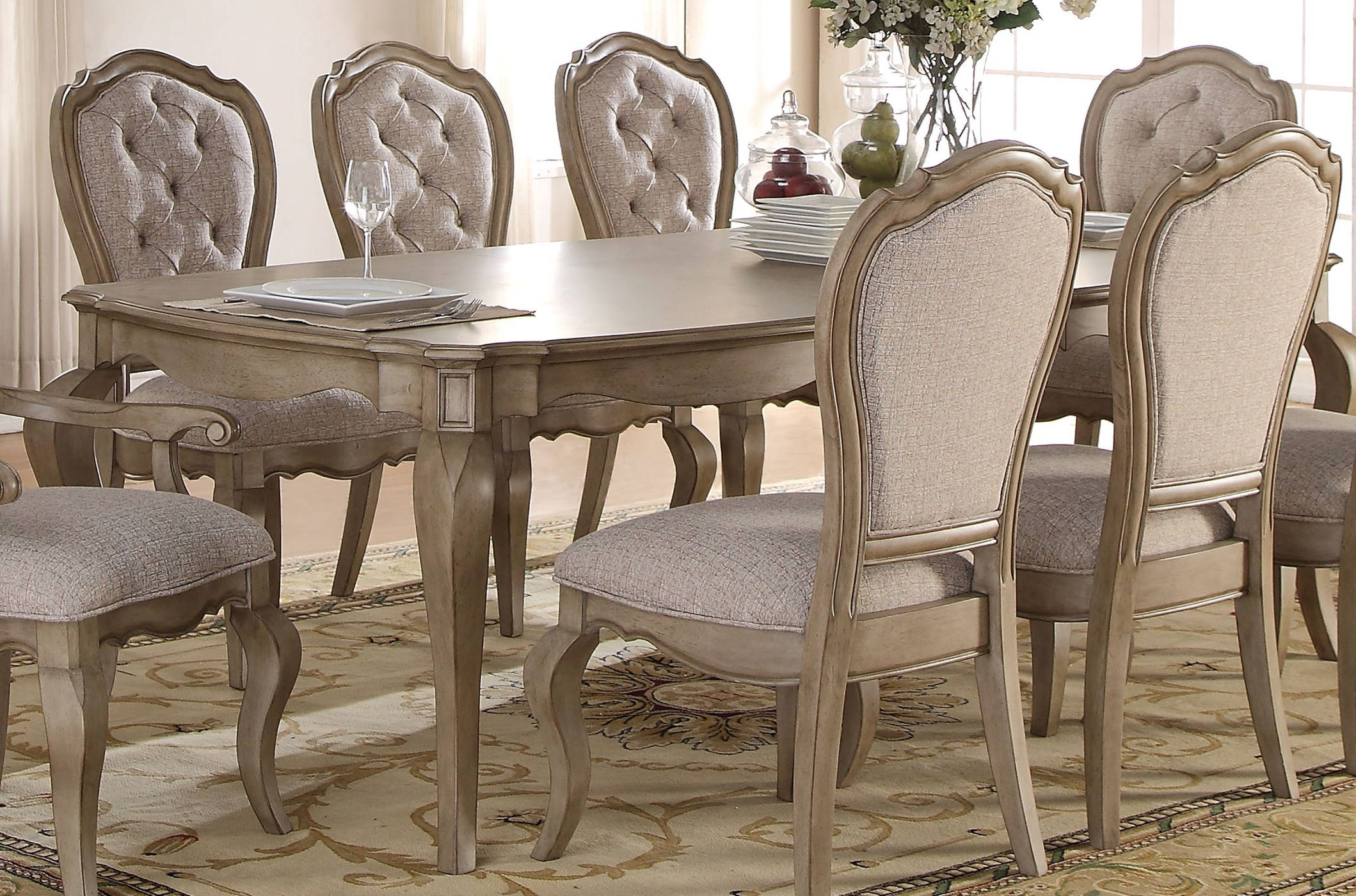 Newest Chelmsford 3 Piece Dining Sets Within Acme Furniture Chelmsford Antique Taupe Dining Table (Gallery 3 of 20)