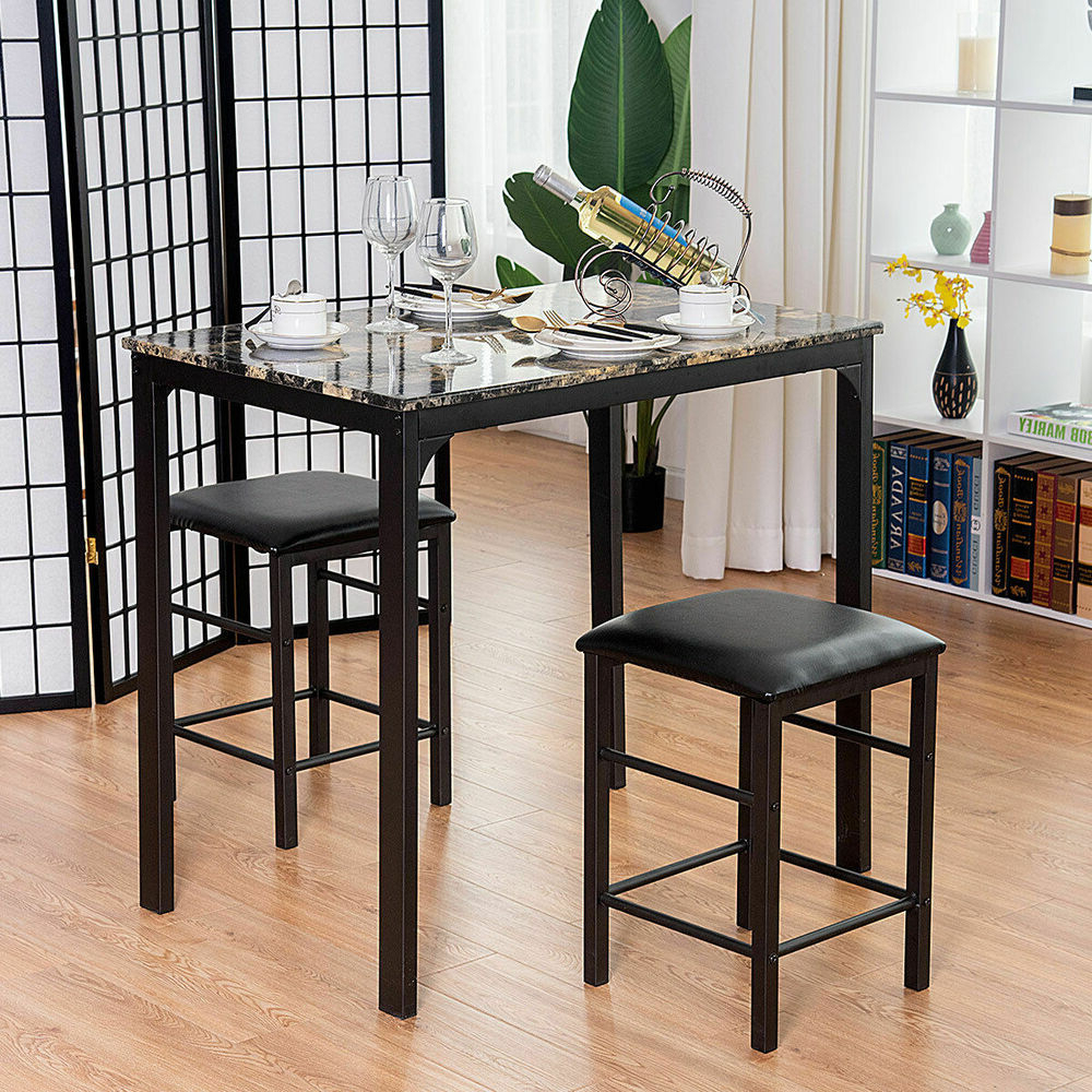 Newest Costway 3 Piece Counter Height Dining Set, Faux Marble (Gallery 13 of 20)