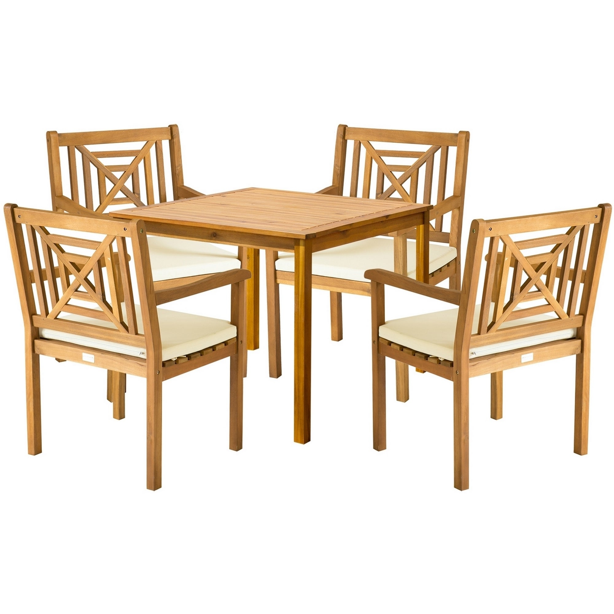 Newest Delmar 5 Piece Dining Sets Intended For Safavieh Outdoor Living Del Mar Brown Acacia Wood 5 Piece Beige Cushion Dining Set (View 18 of 20)