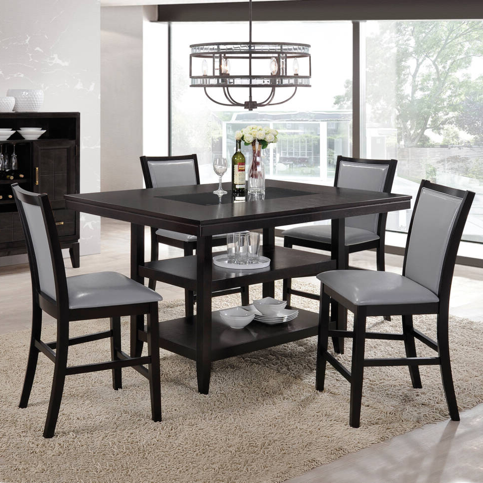 Newest Goodman 5 Piece Solid Wood Dining Sets (Set Of 5) For Ashton 5 Piece Dining Set (View 17 of 20)