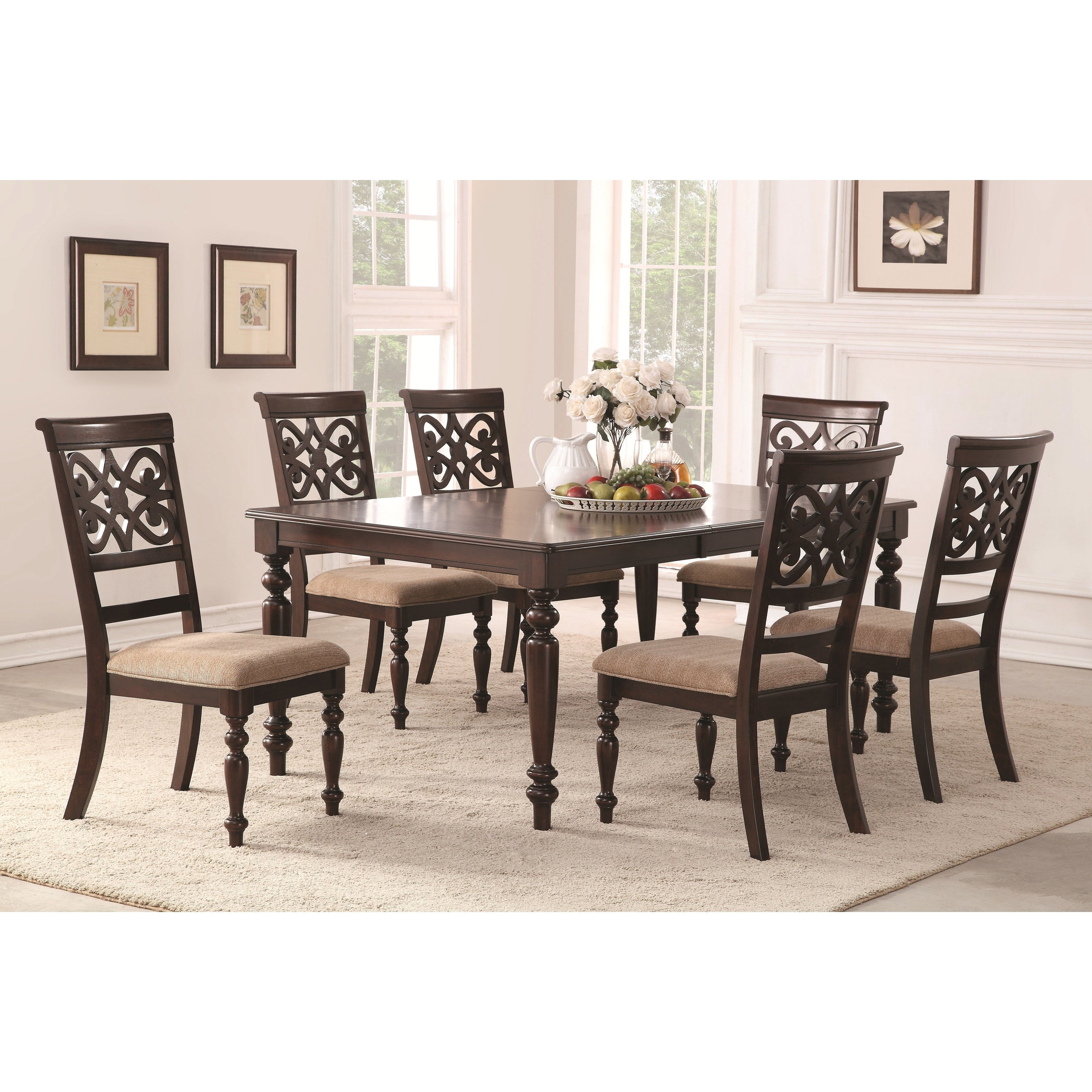 Newest Home Source Laconia Walnut 7 Piece Dining Set Pertaining To Laconia 7 Pieces Solid Wood Dining Sets (set Of 7) (View 2 of 20)