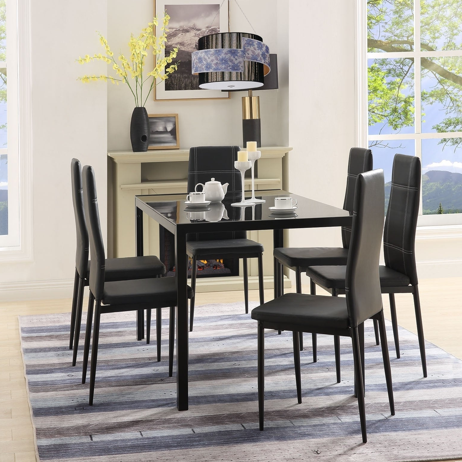 Newest Maynard 5 Piece Dining Sets In Merax 7 Piece Dining Set Glass Top Metal Table 6 Person Table And Chairs (View 12 of 20)