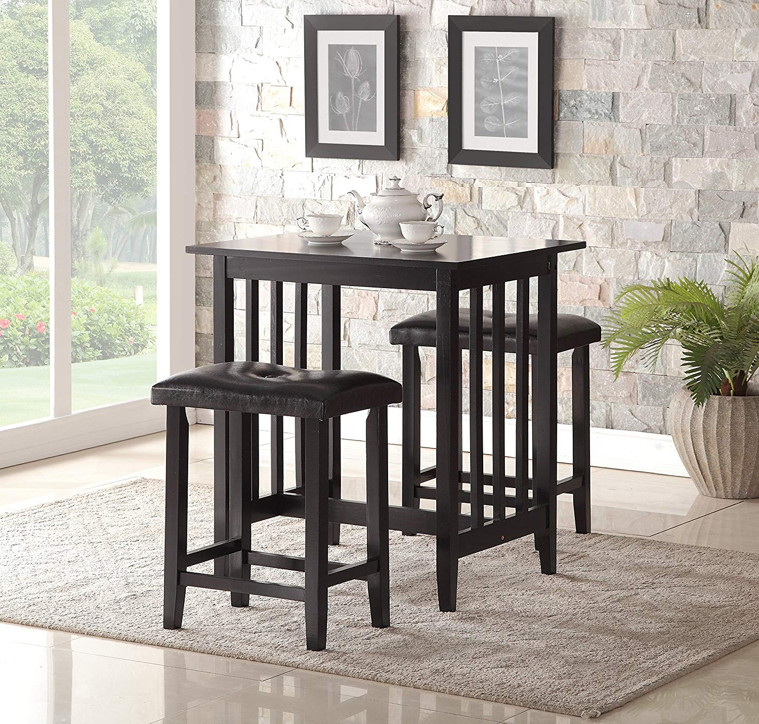 Newest Moorehead 3 Piece Counter Height Dining Sets For Roundhill Furniture 3 Piece Counter Height Dining Set With Saddleback  Stools, Black (Gallery 5 of 20)