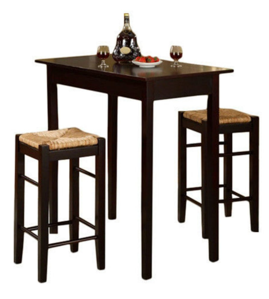 Newest Penelope 3 Piece Counter Height Wood Dining Sets Pertaining To 3 Piece Dinette Set Kitchen Pub Dining Table And Chairs Furniture Espresso (Gallery 14 of 20)