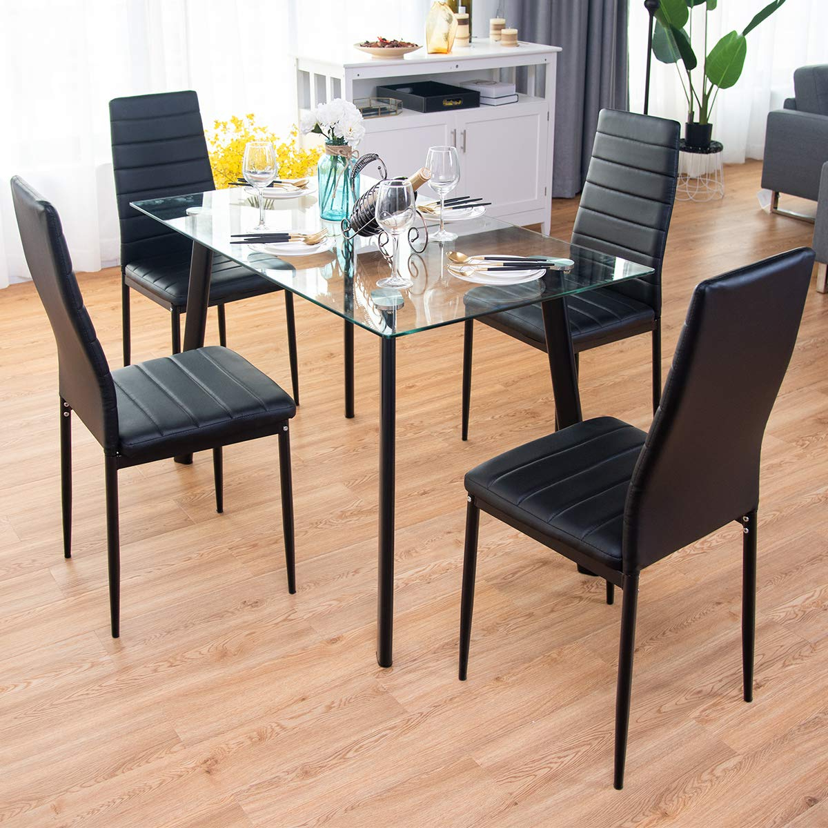 Newest Rossi 5 Piece Dining Sets Pertaining To Tangkula 5 Pcs Dining Table Set Modern Tempered Glass Top And Pvc Leather Chair W/4 Chairs Dining Room Kitchen Furniture (black) (View 19 of 20)