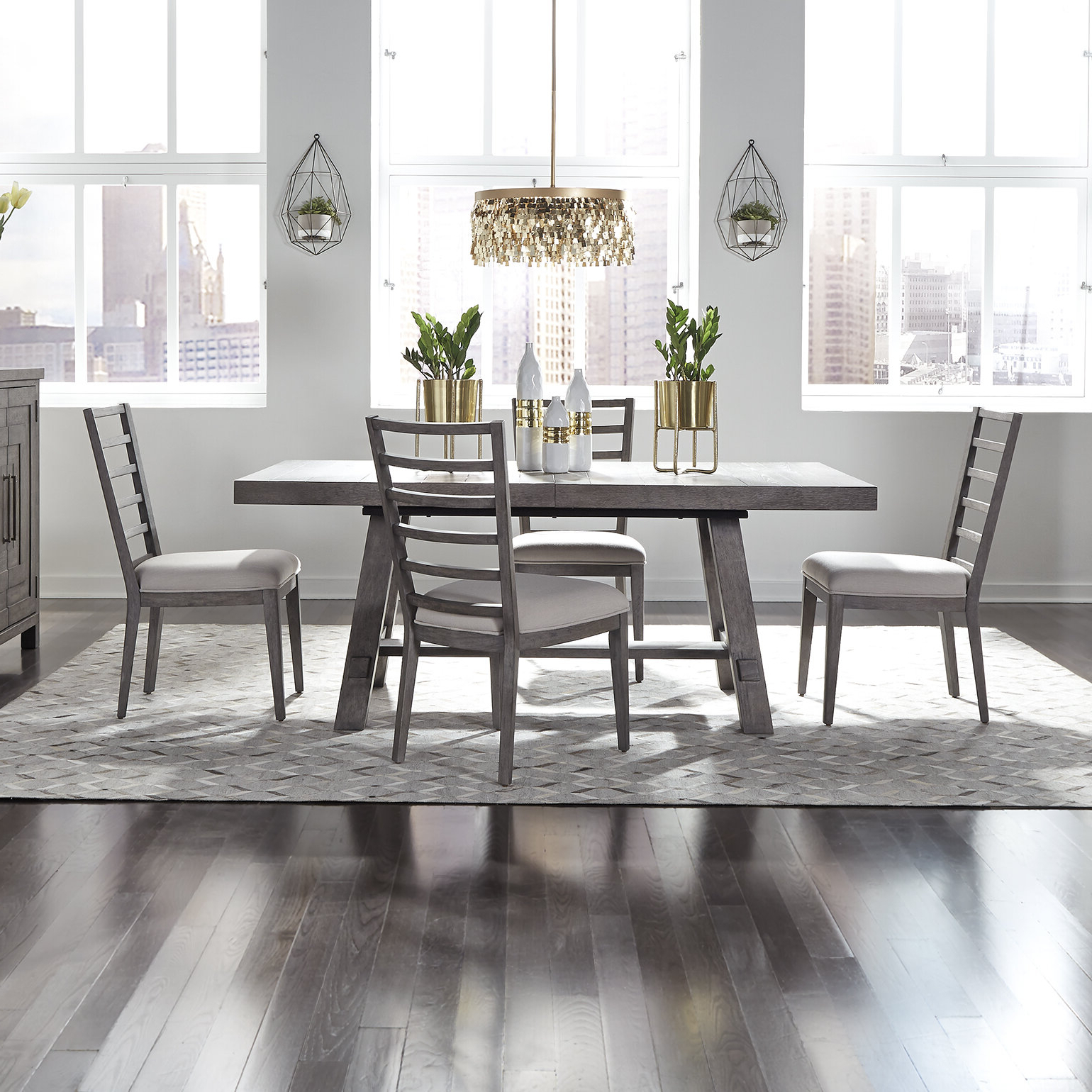 Newest Taulbee 5 Piece Dining Sets Within Tapscott Trestle 5 Piece Dining Set (View 18 of 20)